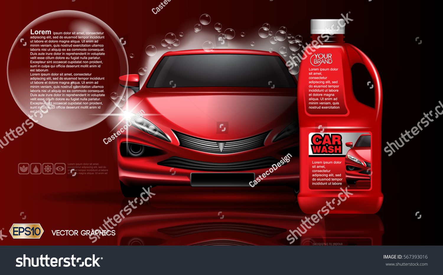 high quality car wash product package mock up ads bottle of carwash soap 3d
