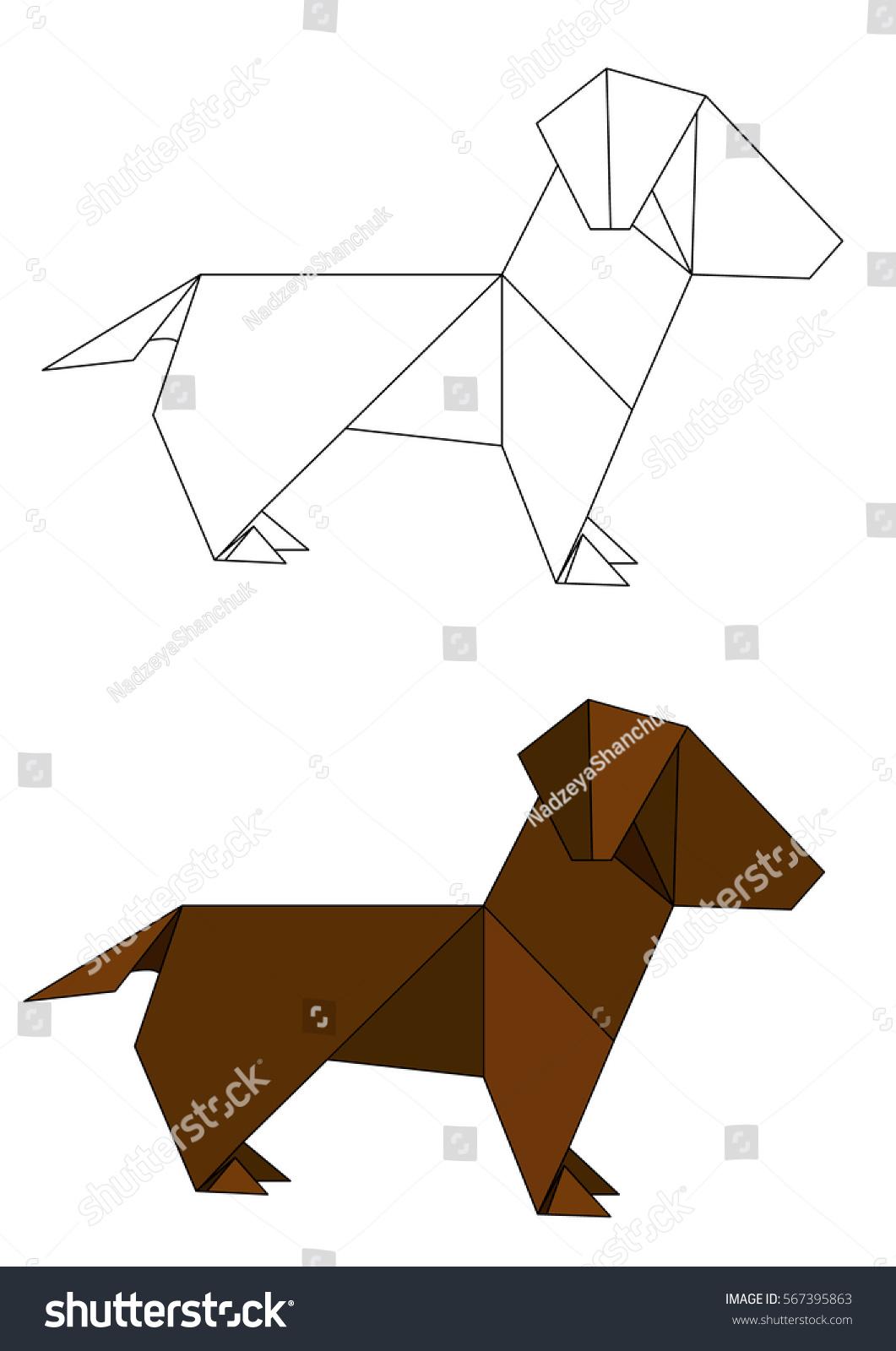 Origami Paper Dog Contours