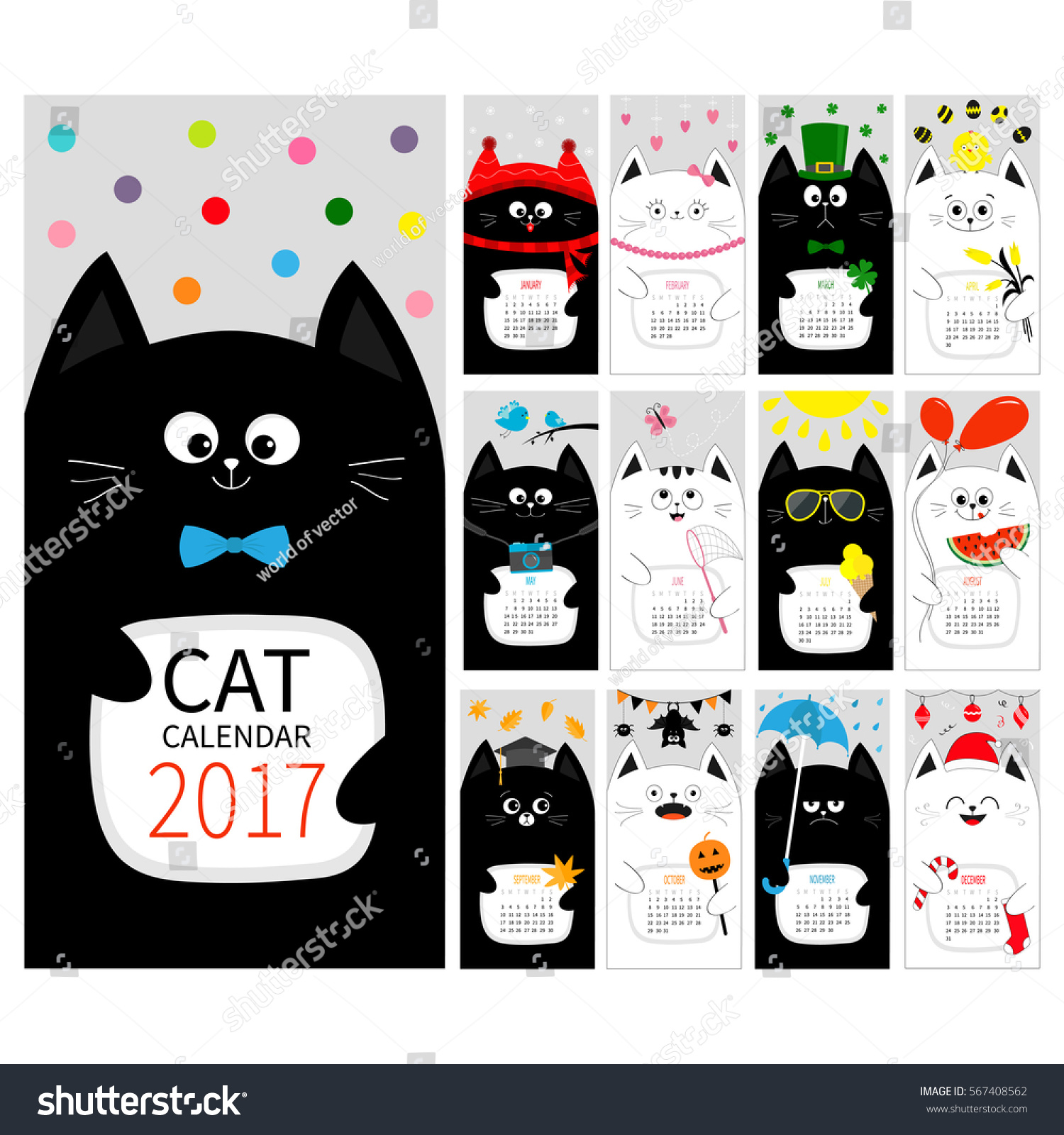 Cat Vertical Monthly Calendar 2017 Cover All Month Happy Valentines St Patrick Day Christmas