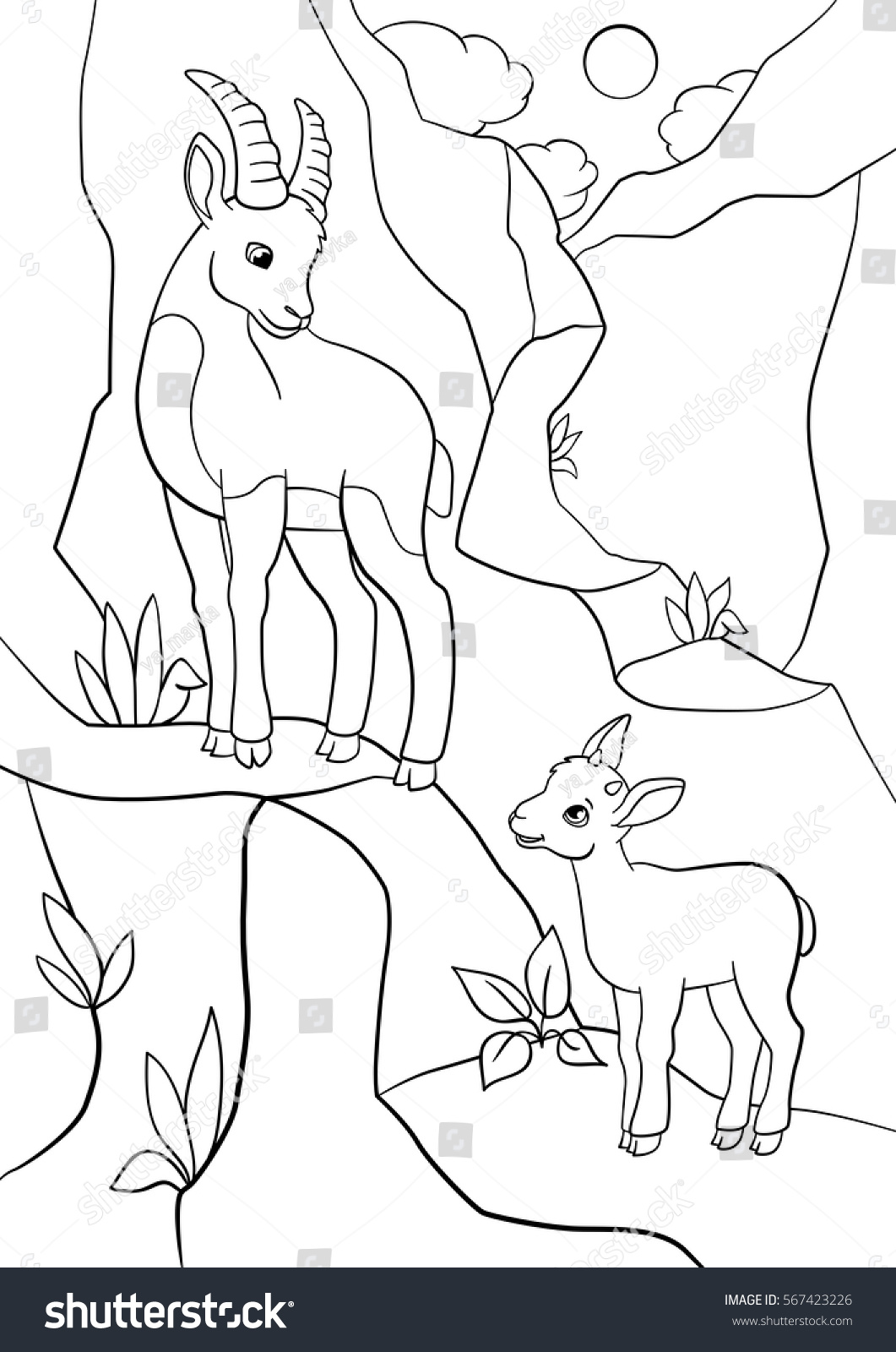 coloring pages mother ibex her little stock vector 567423226