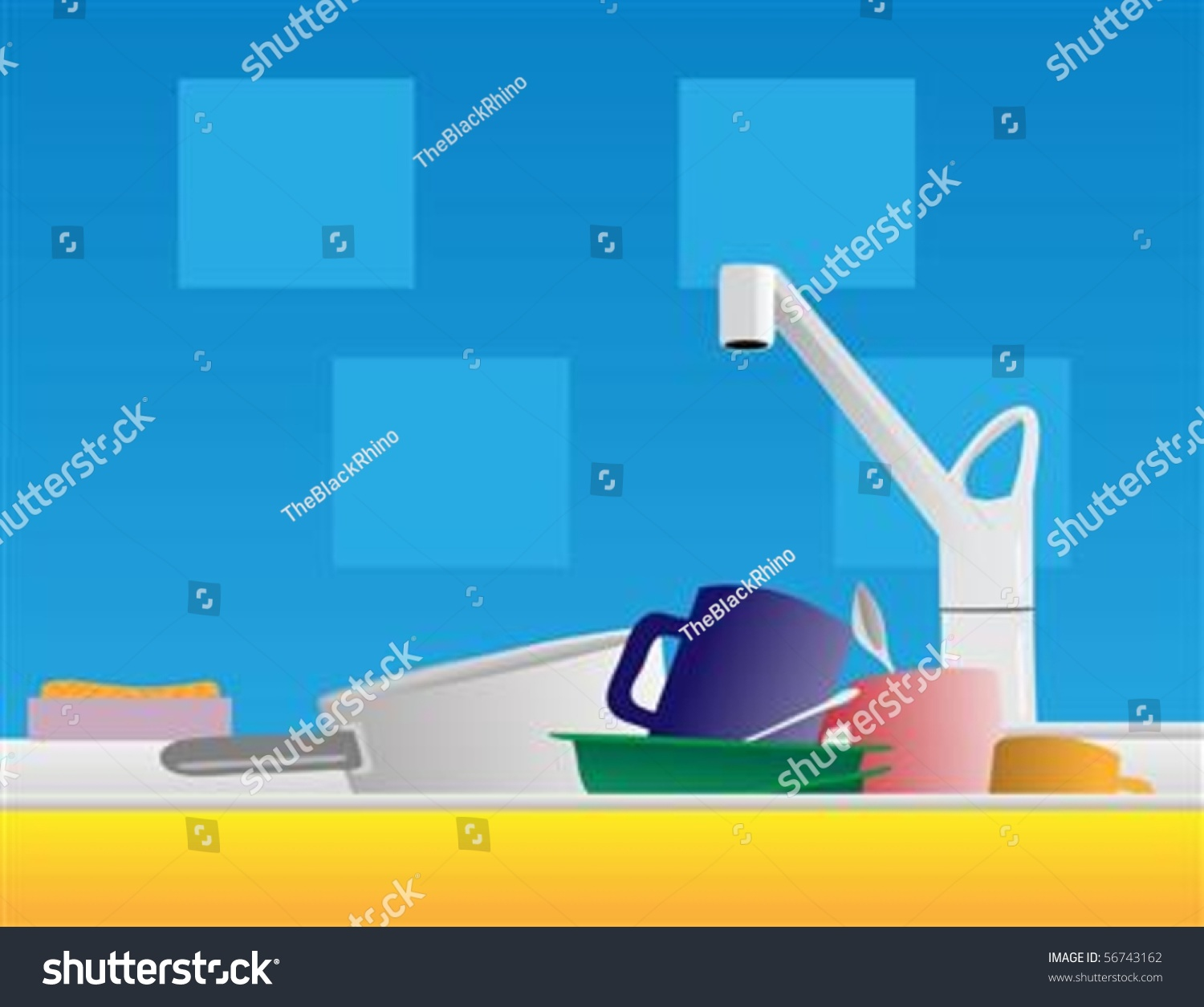 Messy Kitchen Sink Stock Photos: Pile Dirty Dishes Sit Kitchen Sink Stock Vector 56743162