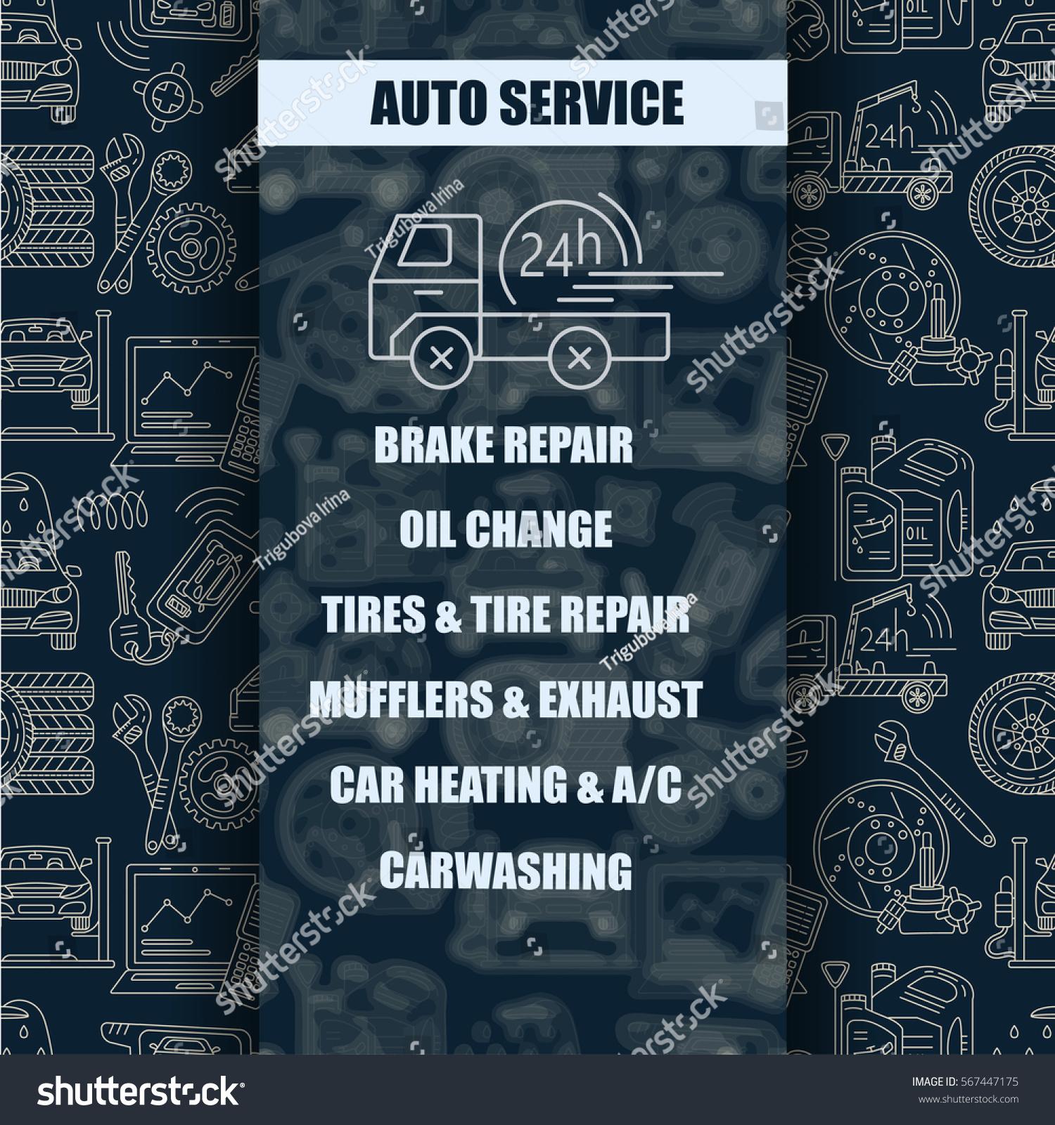 Vector card symbols car service tire stock vector 567447175 vector card with symbols of car service tire service car wash tow truck buycottarizona