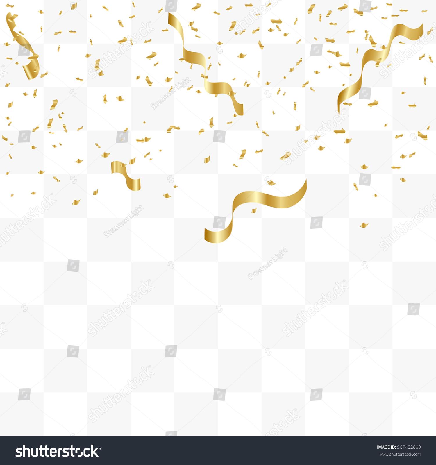 Confetti background vector golden confetti background - Golden Confetti And Ribbon Falling On Transparent Background Vector