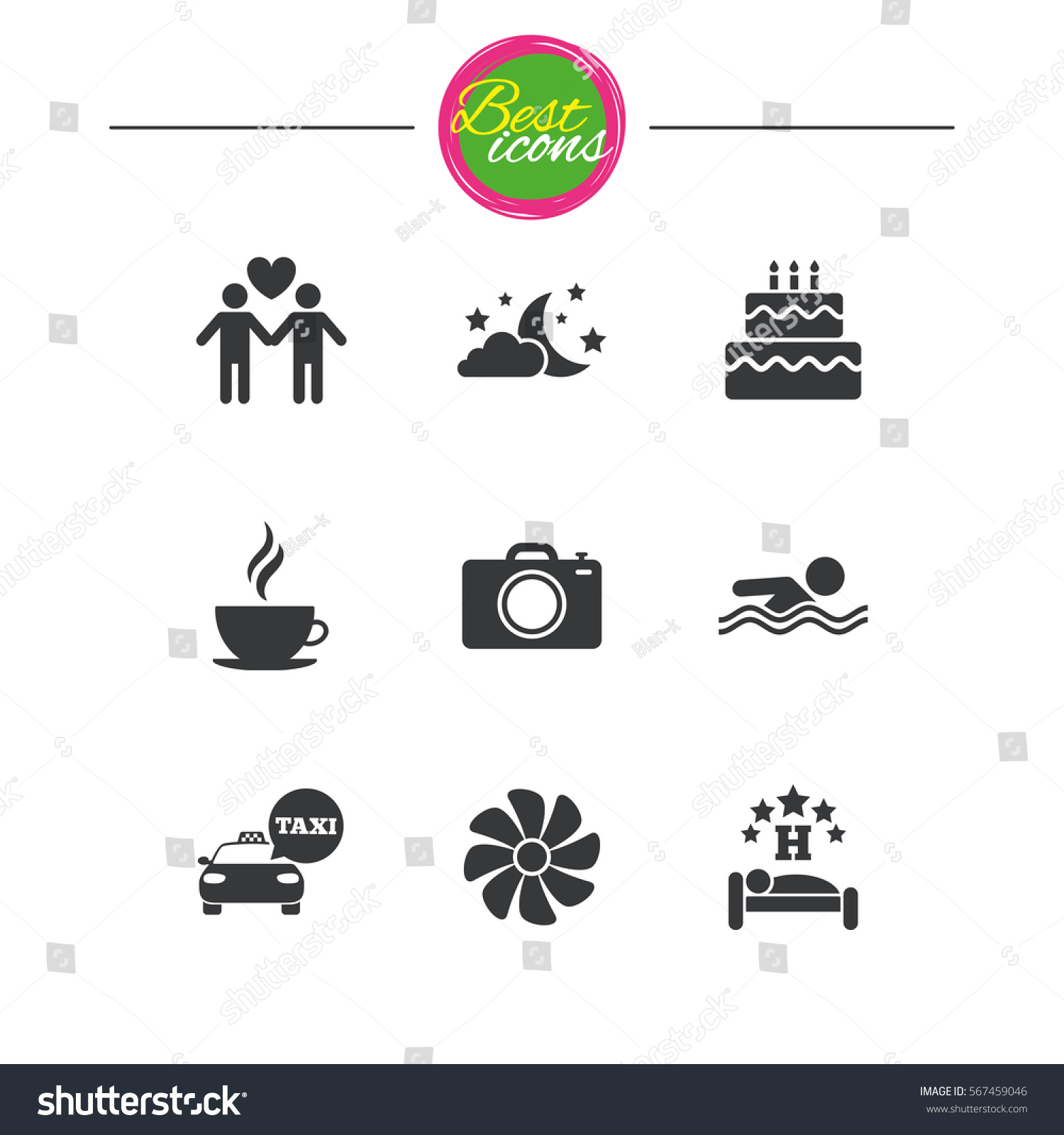 Hotel, apartment service icons. Swimming pool. Ventilation, birthday party  and gay-friendly symbols. Classic simple flat icons. Vector - Vector