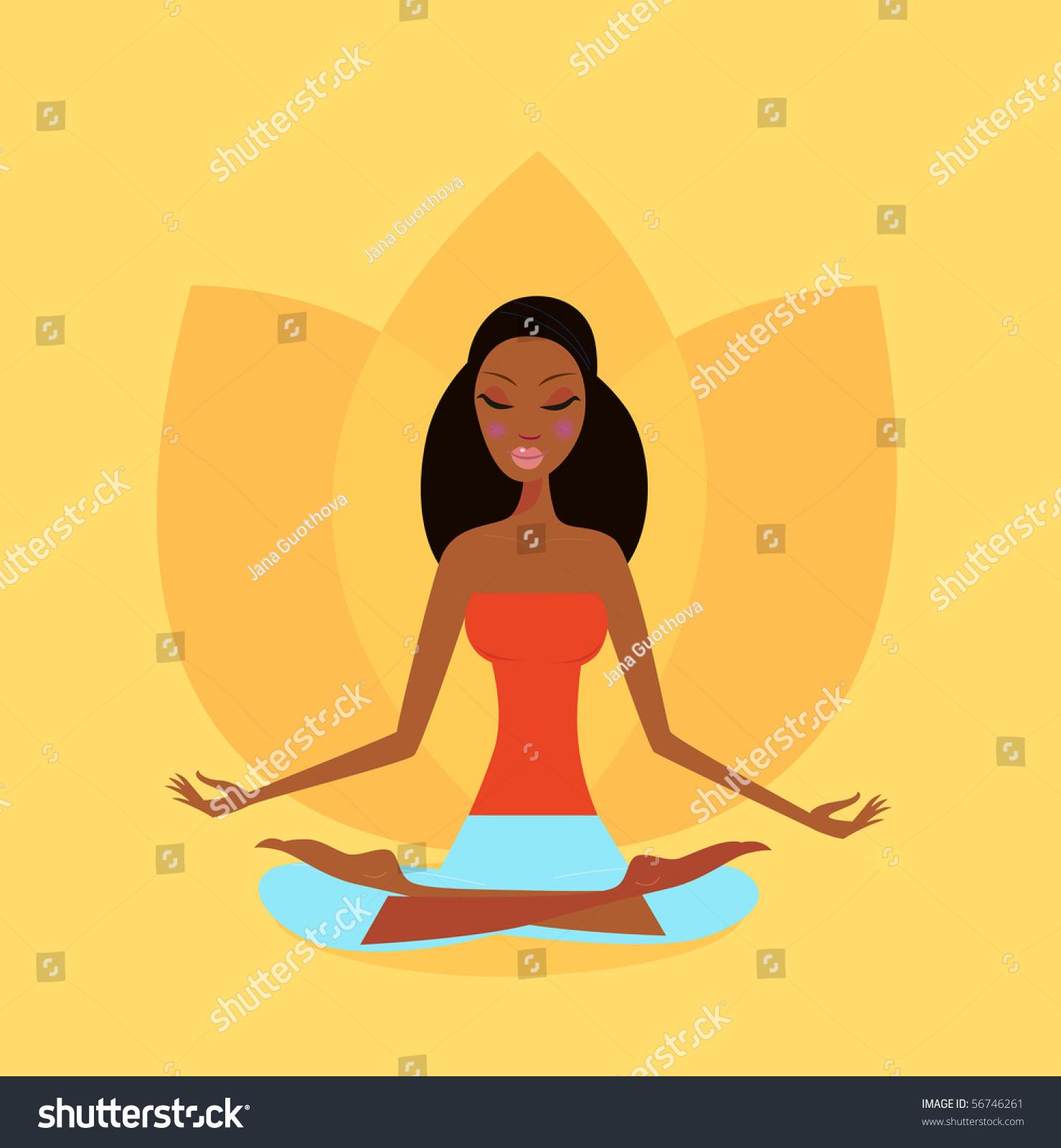 Zen Meditation Yoga Girl Lotus Flower Stock Vector Royalty Free