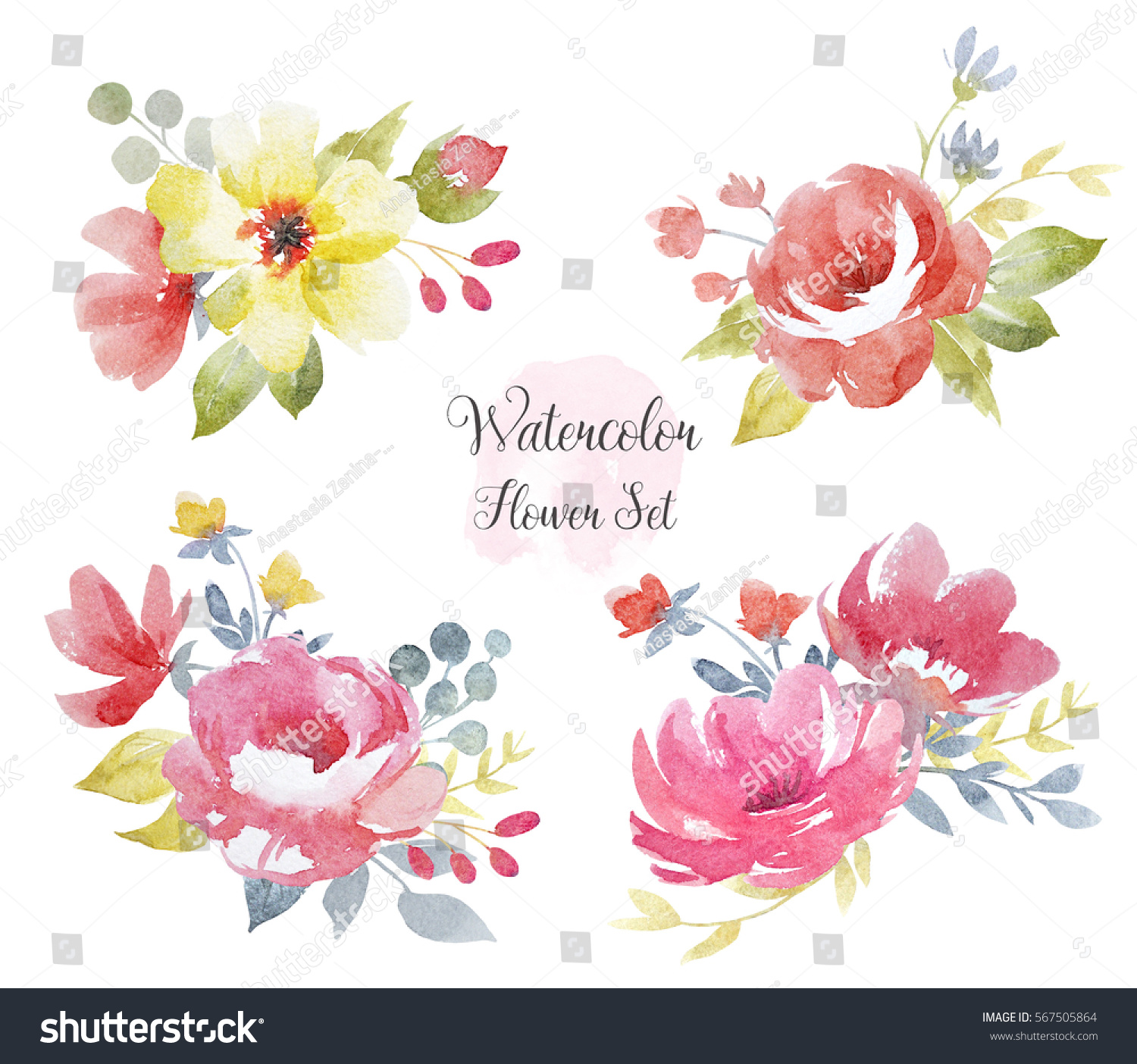 Royalty Free Stock Illustration Of Watercolor Floral Bouquets Set