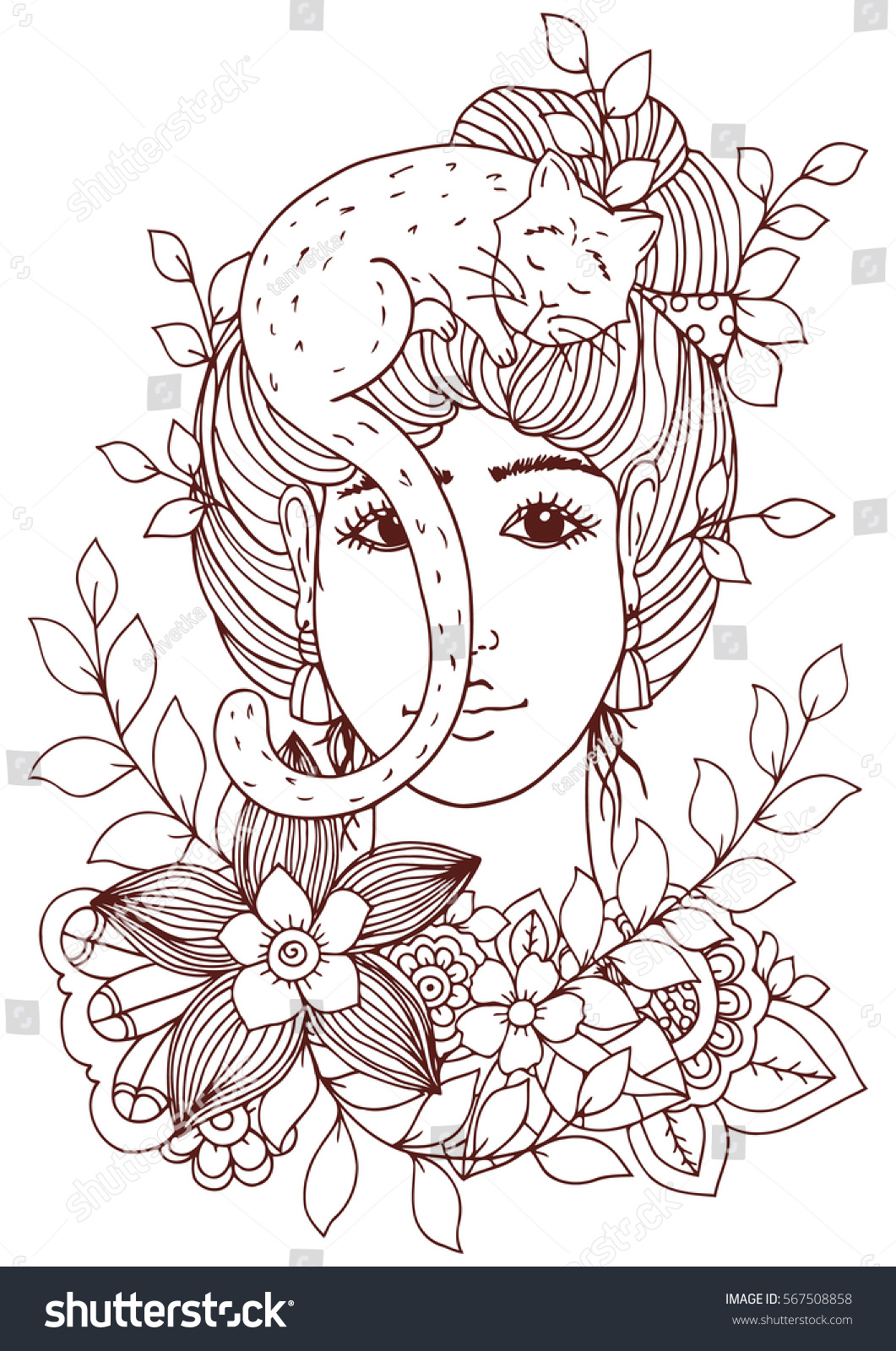 Zen cat coloring page - Vector Illustration Of Handmade Work Zentangle Girl With Flowers And Cat Doodle Drawing