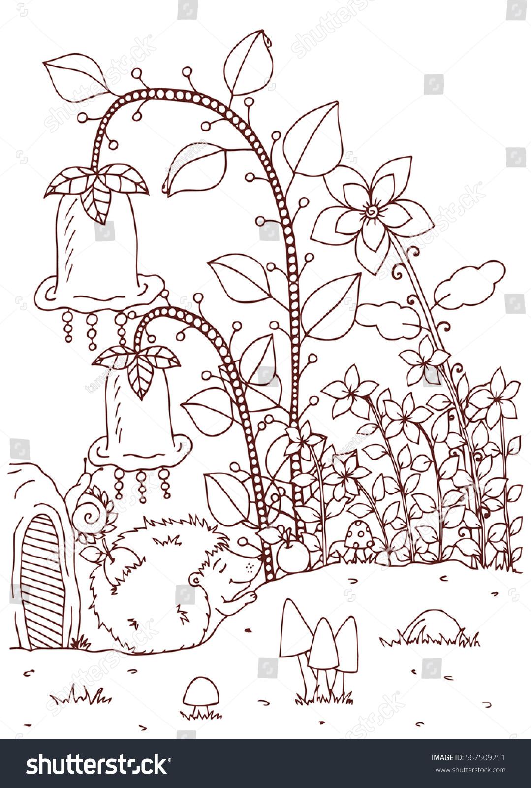 vector illustration zentangl doodle hedgehog house stock vector