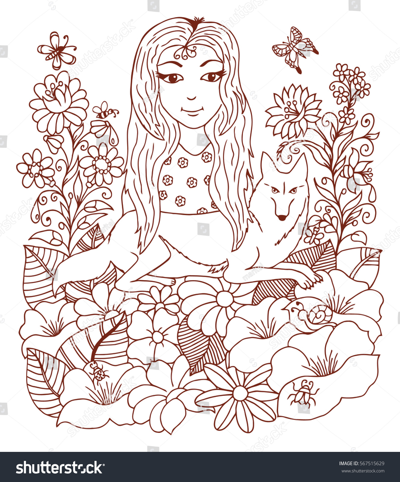 Do anti stress colouring books work - Vector Illustration Girl With A Wolf Surrounded By Flowers Work Made By Hand Book