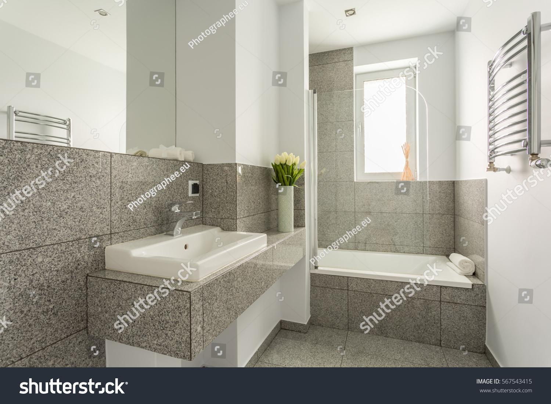 Granite Modern Bathroom Interior Minimalist Washbasin Stock Photo 567543415 Shutterstock