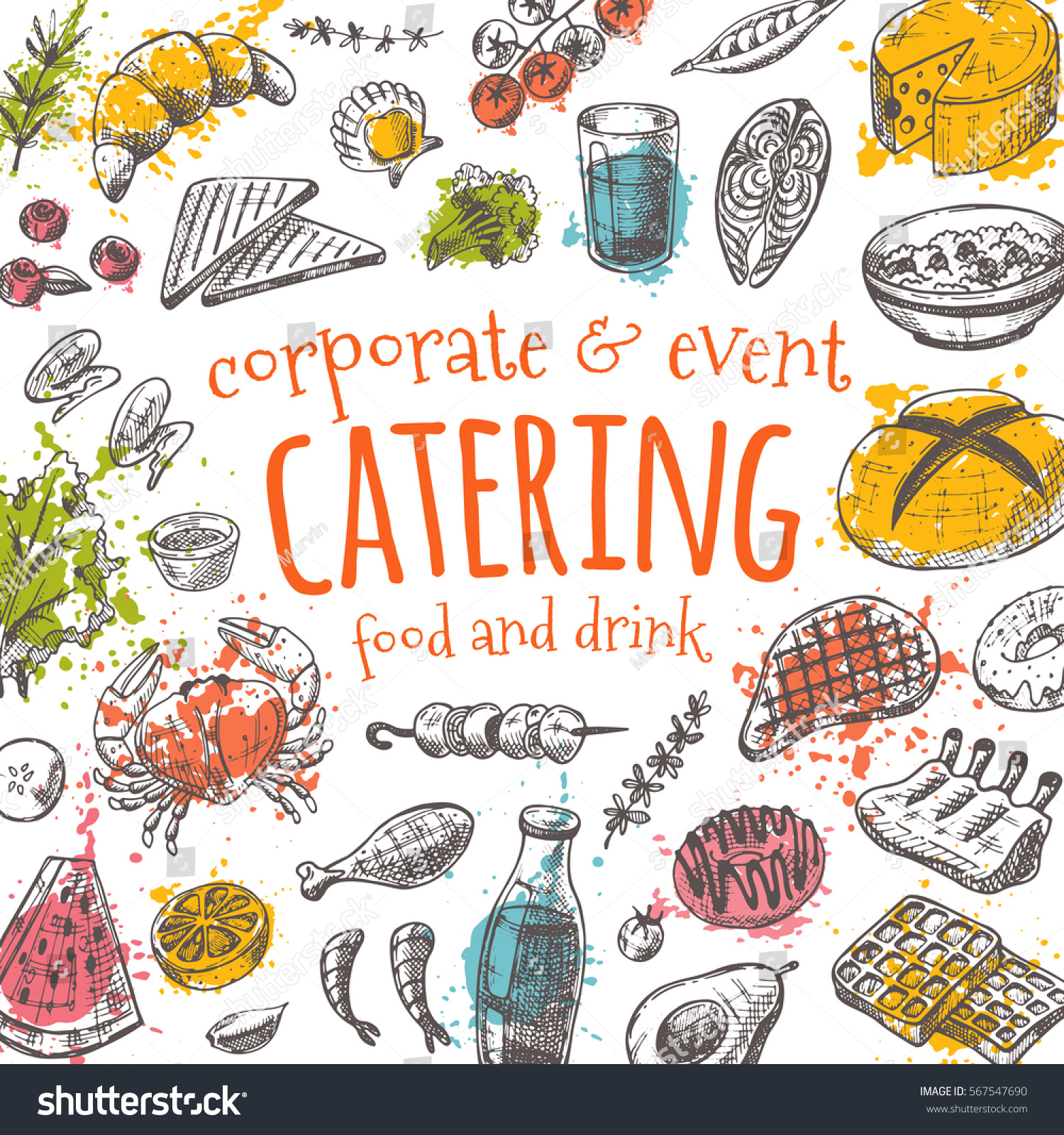 catering card hand drawn vector illustration stock vector