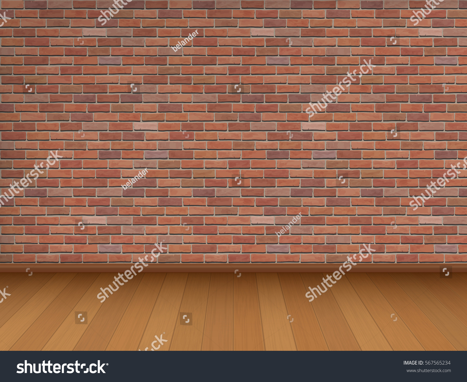 Brick Vector Picture Brick Veneers: Red Brick Wall Wooden Floor Architectural Stock Vector