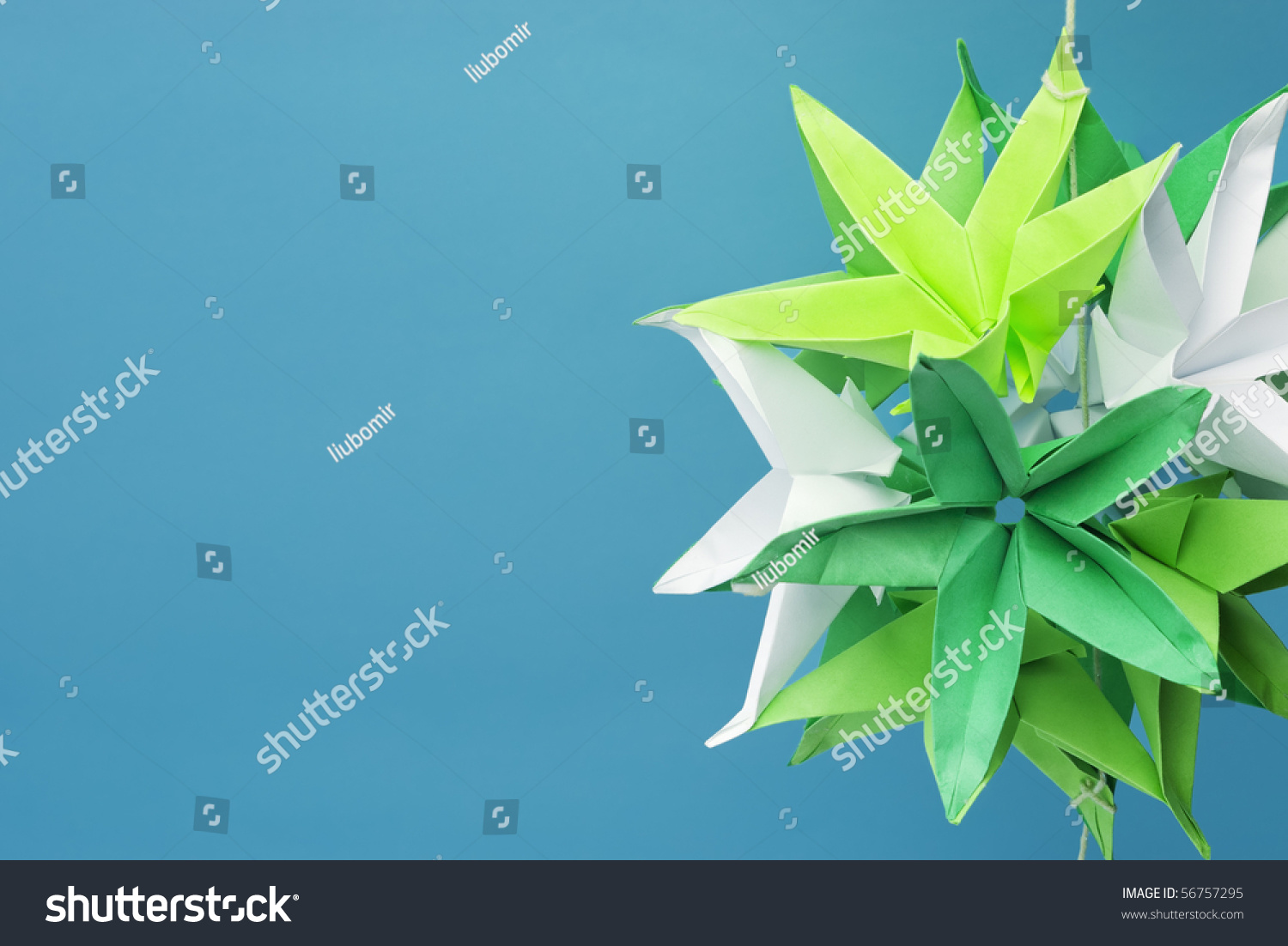 Green White Origami Star Flowers Copy Stock Photo Edit Now