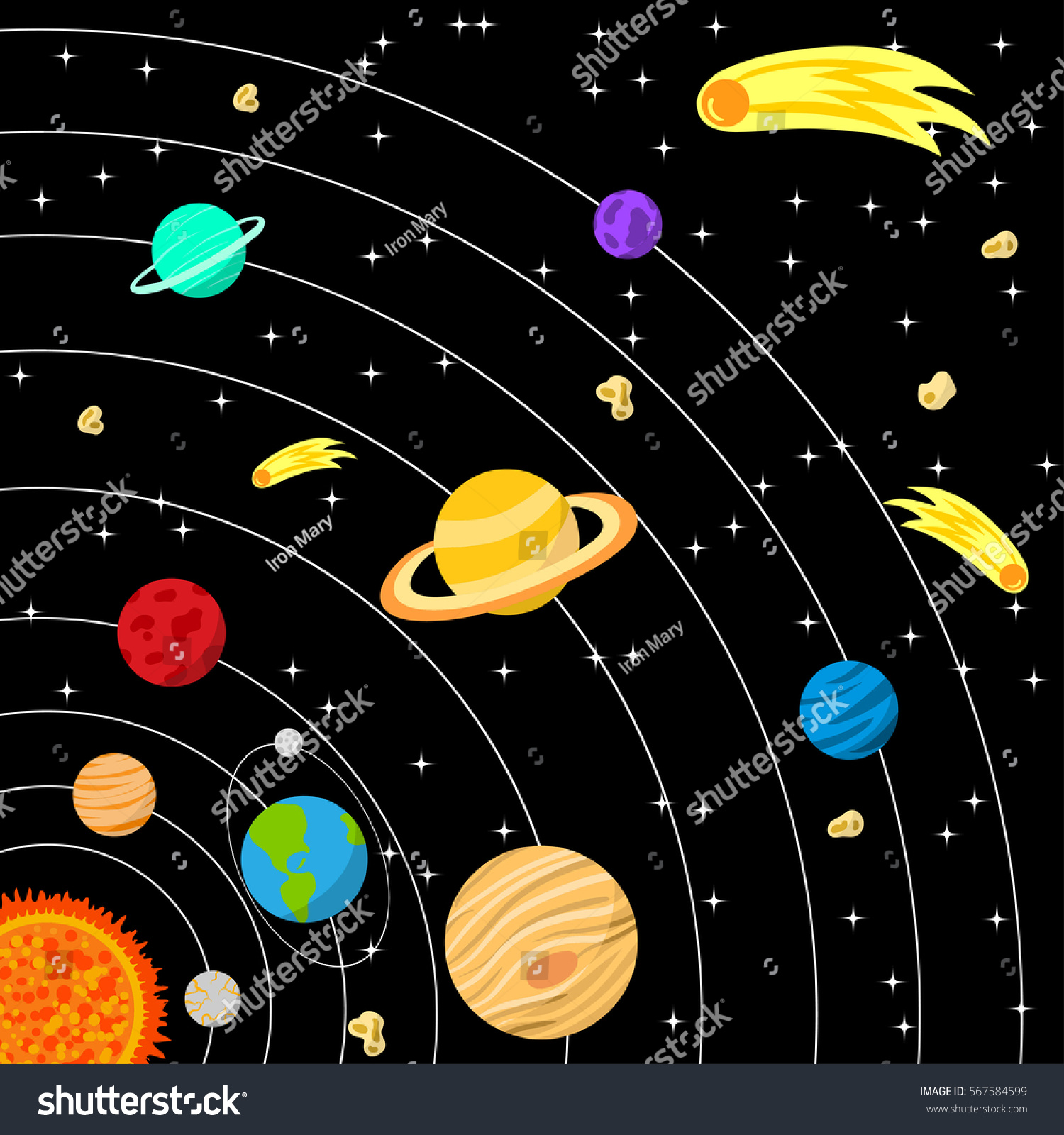 Vector Illustration Solar System Comets Asteroids Stock