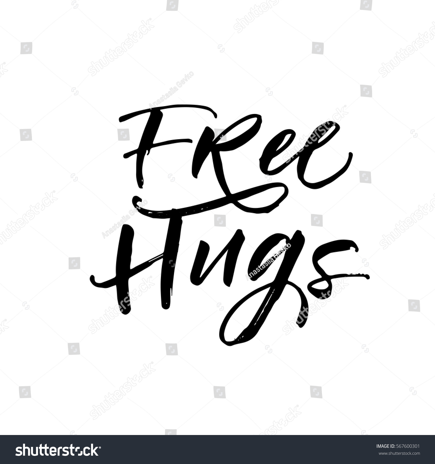 Free hugs postcard positive phrase ink stock vector 567600301 free hugs postcard positive phrase ink illustration modern brush calligraphy isolated on biocorpaavc Gallery