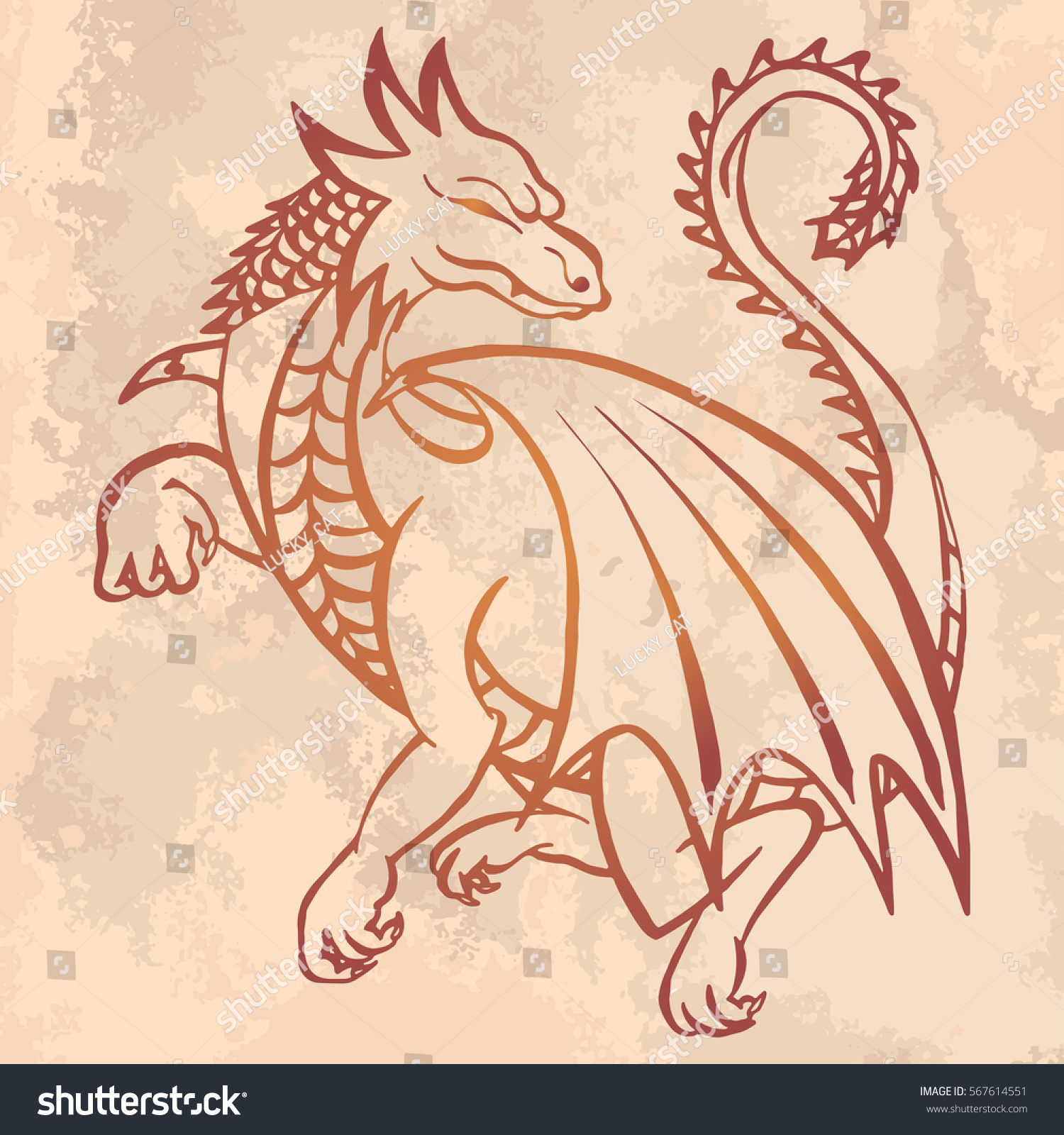 illustration hand drawn dragon on vintage stock vector 567614551 shutterstock. Black Bedroom Furniture Sets. Home Design Ideas