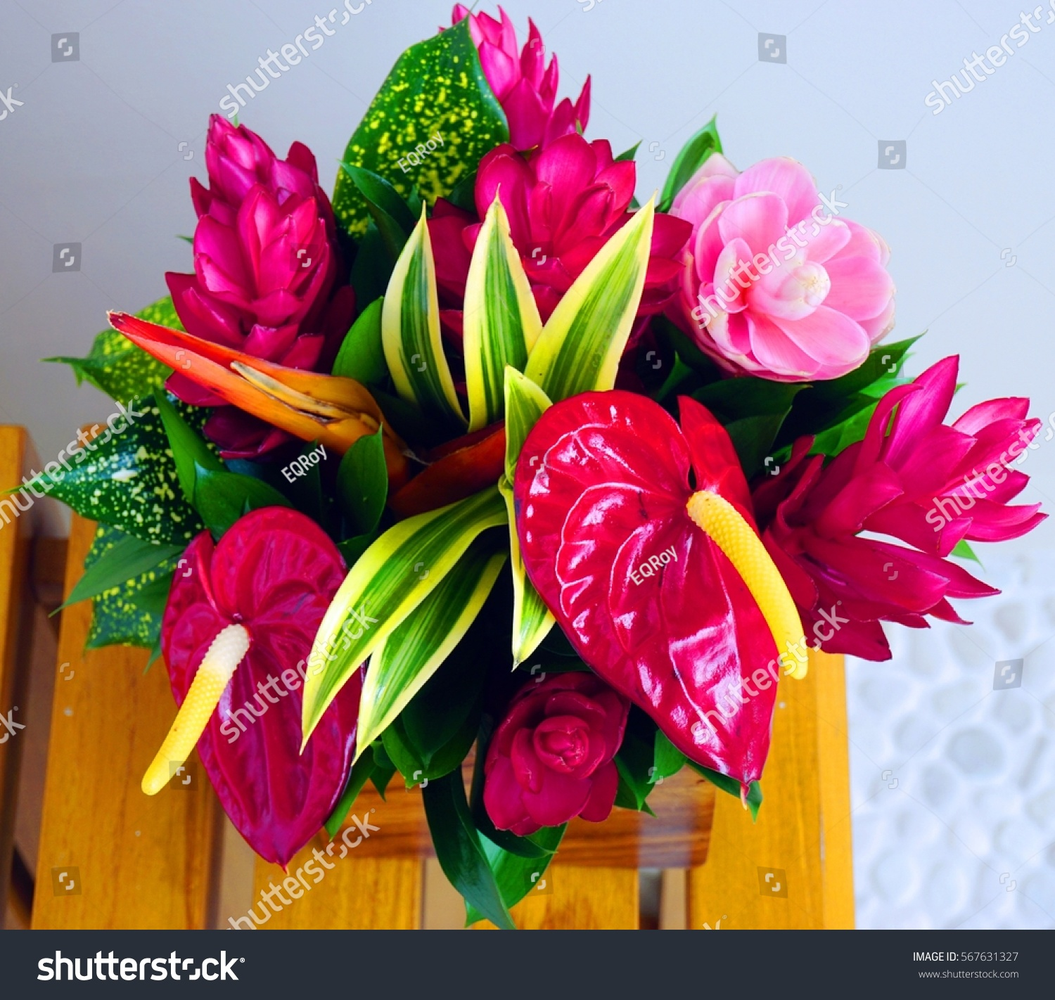 Pink Red Tropical Flower Bouquet Stock Photo & Image (Royalty-Free ...