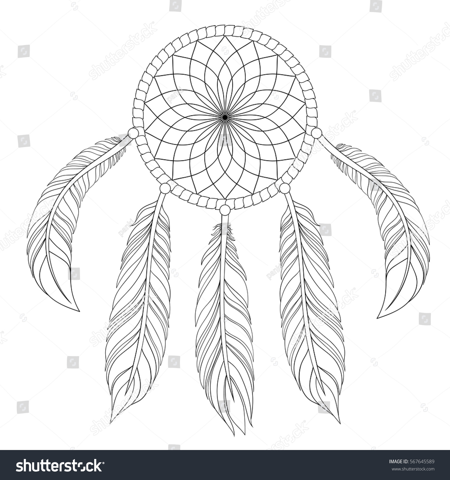 Hand drawn illustration dream catcher zentangle stock vector hand drawn illustration of dream catcher in zentangle graphic style native american symbol for greeting buycottarizona