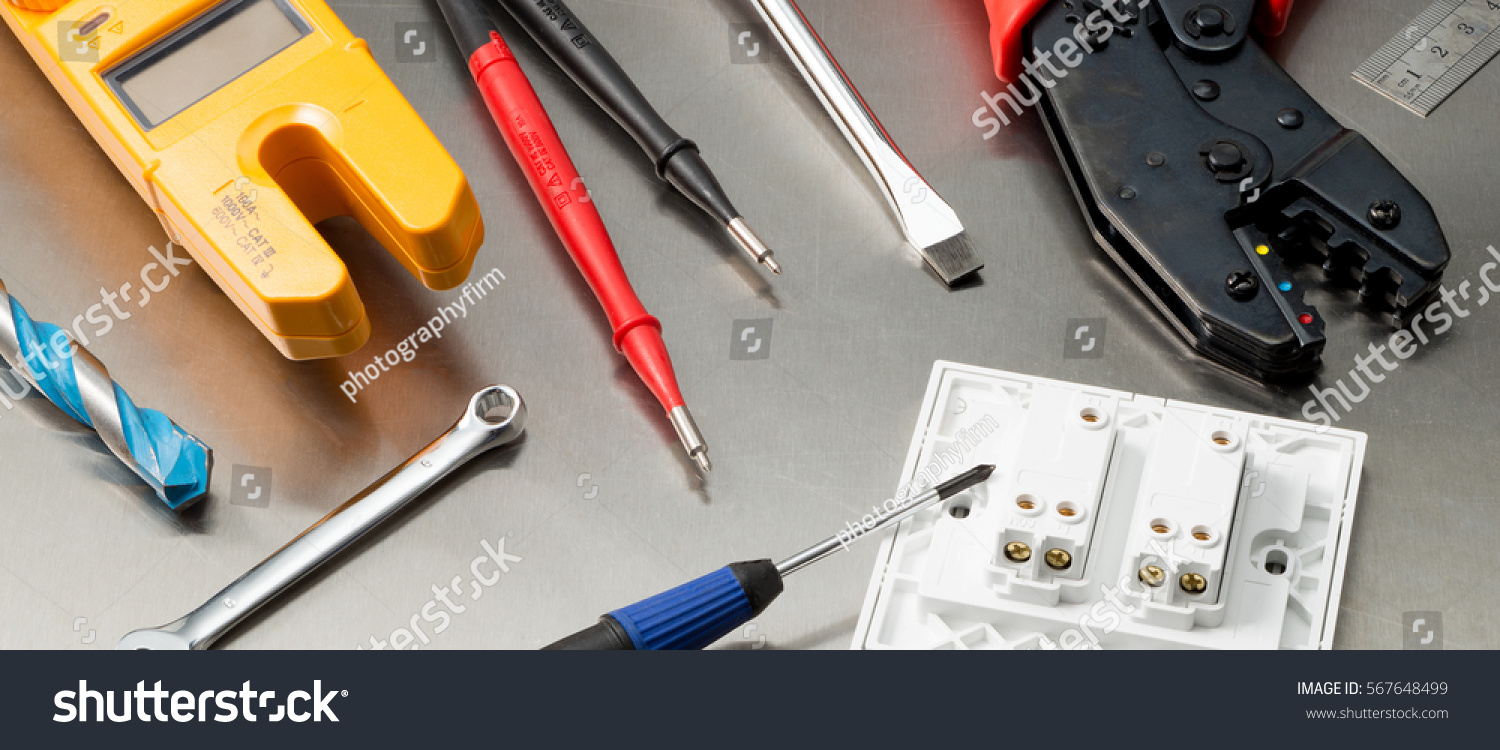 Various Electrician Tools Components Including Multimeter Stock ...