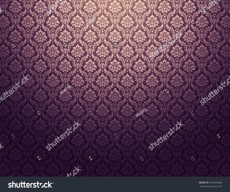 Purple damask wallpaper golden floral patterns purple damask wallpaper with golden floral patterns voltagebd Gallery