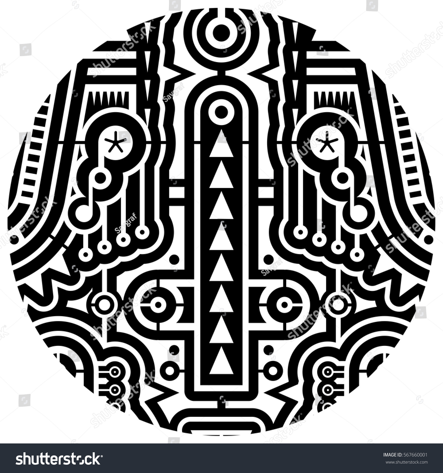 Modern Art Vector Techno Tribal Style Stock Vector ...