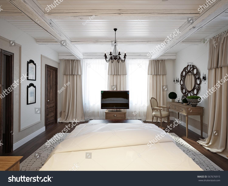 Spacious Bedroom Mediterranean Style Bright Room Stock Illustration ...