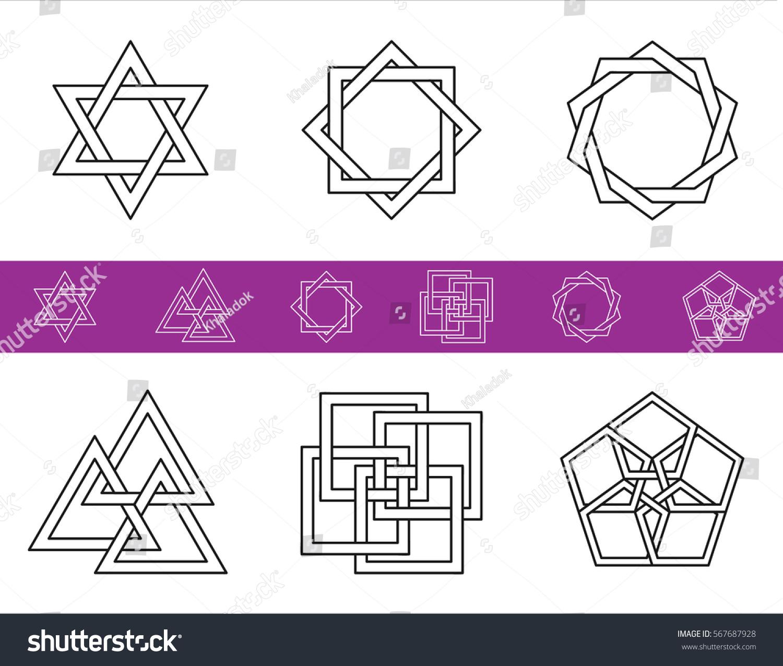 Vector geometric symbols symbols sacred geometry stock vector vector geometric symbols symbols of sacred geometry valknut symbol biocorpaavc