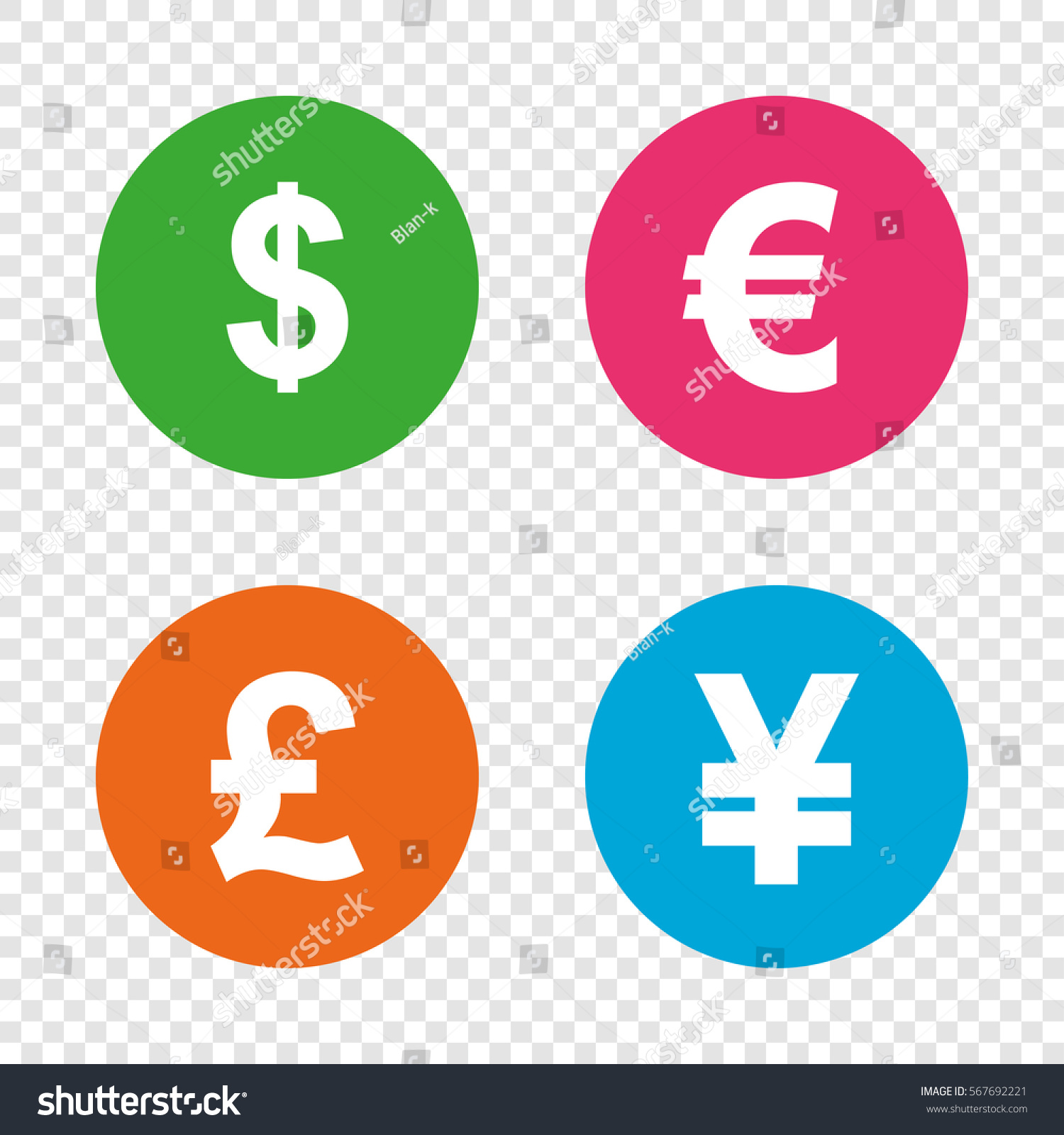 Dollar Euro Pound Yen Currency Icons Stock Vector 567692221