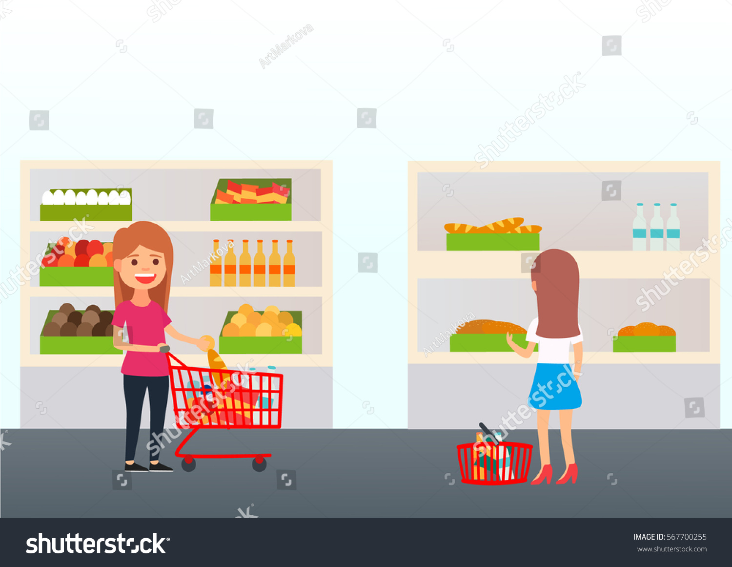 Cute Shop Supermarket Buyers Happy Girl Stock Vector