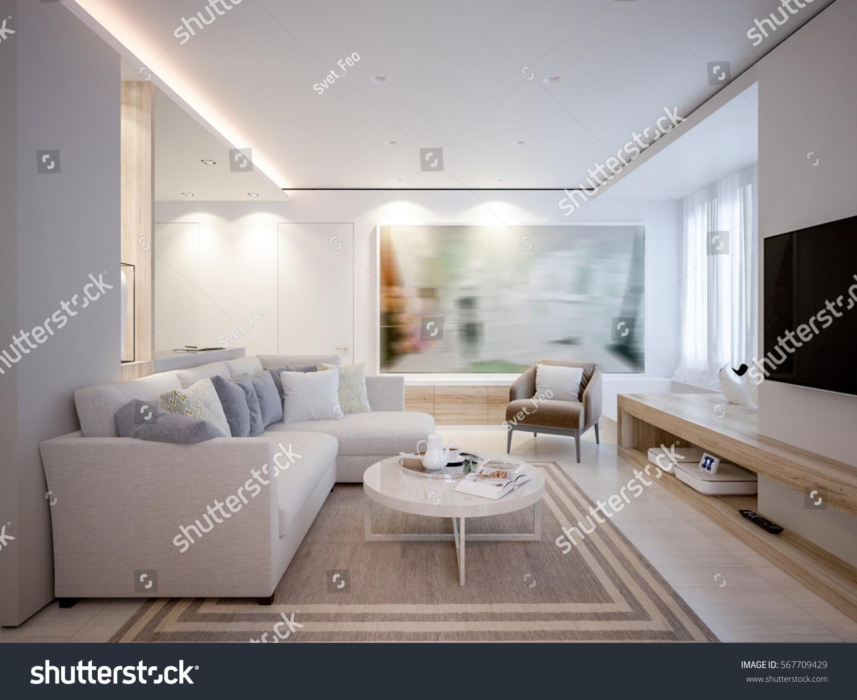 Elegant Luxurious Light Open Living Dining Stock Illustration ...