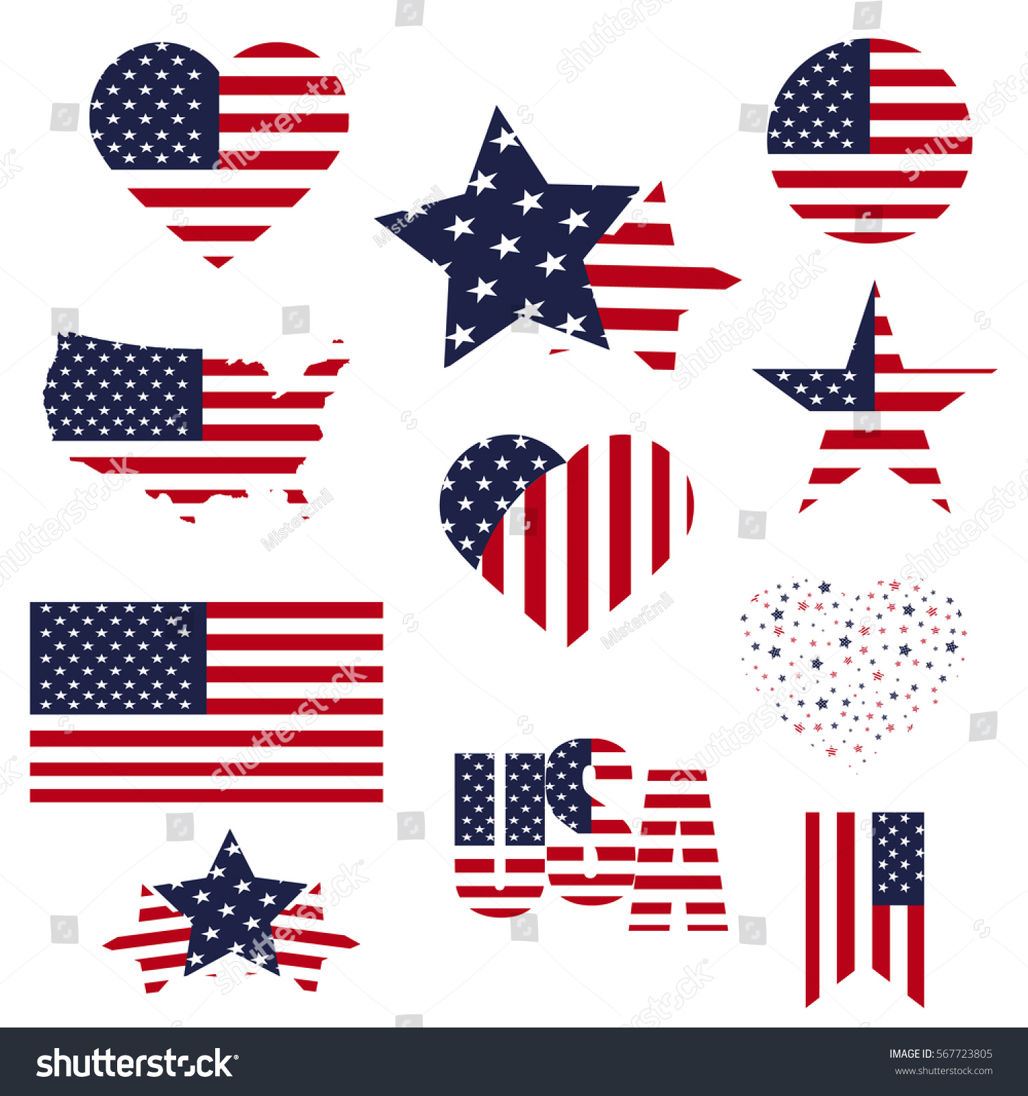 Symbols United States Framed Different Forms Stock Vector 2018