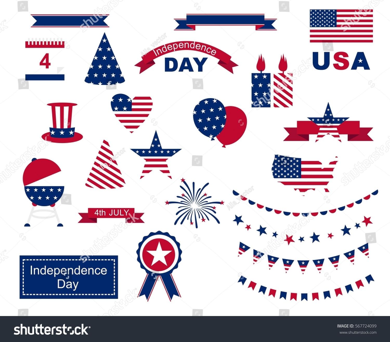 Usa celebration flat national symbols set stock illustration usa celebration flat national symbols set for independence day on white background biocorpaavc