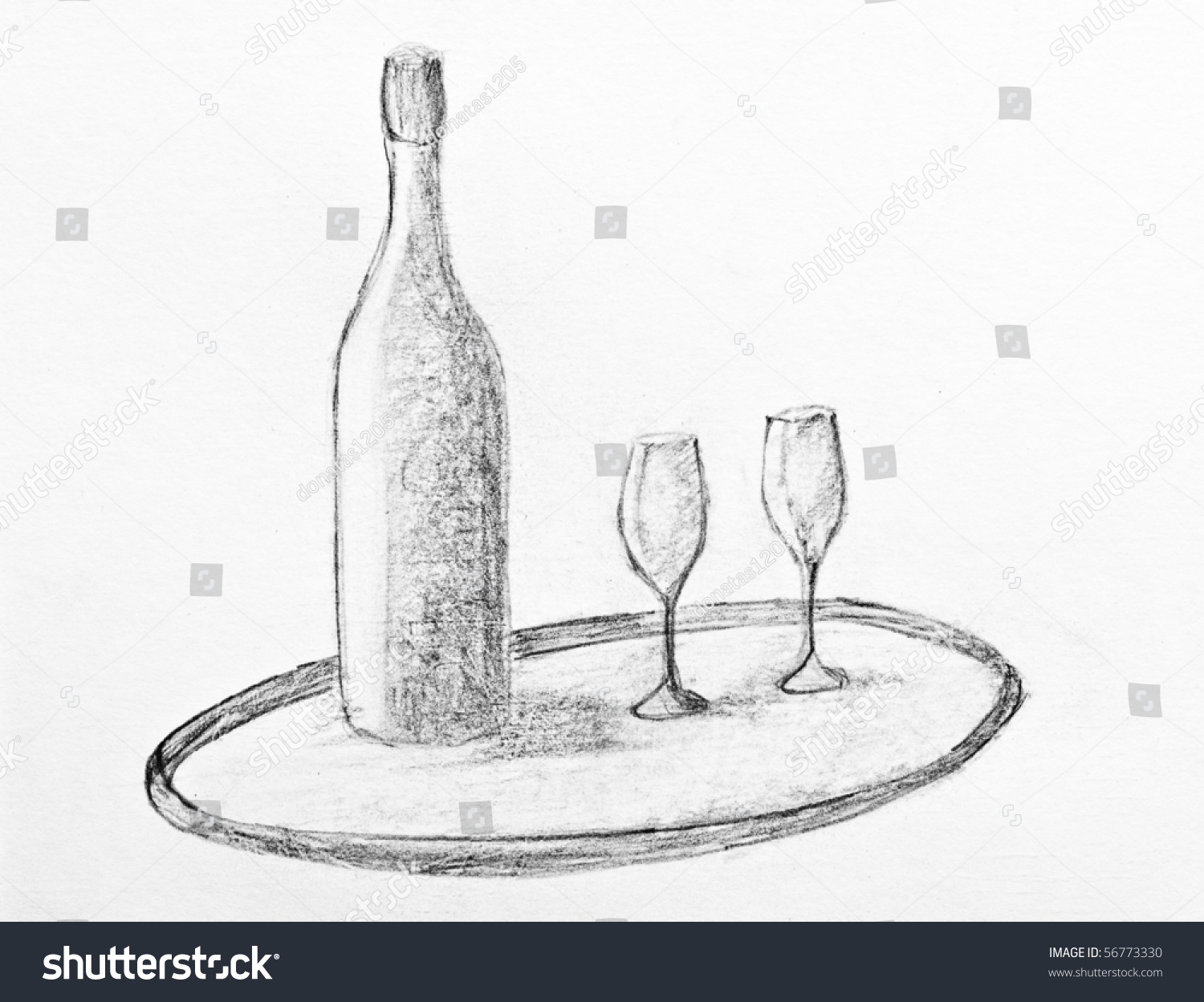 Pencil Drawing Of A Wine Bottle And Two Glasses Stock ...