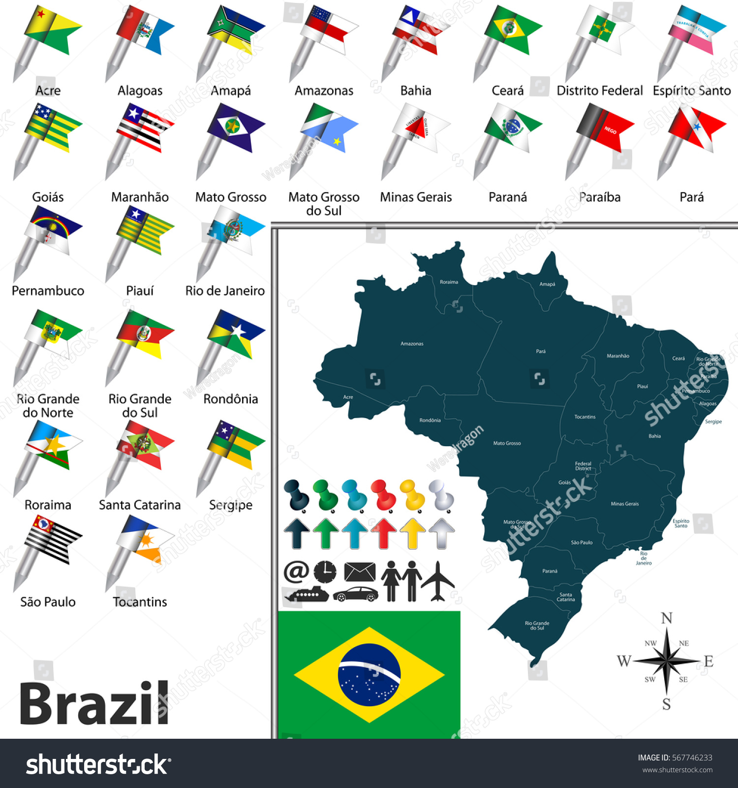 Vector Map Brazil Regions Flags States Stock Vector - Brazil states map