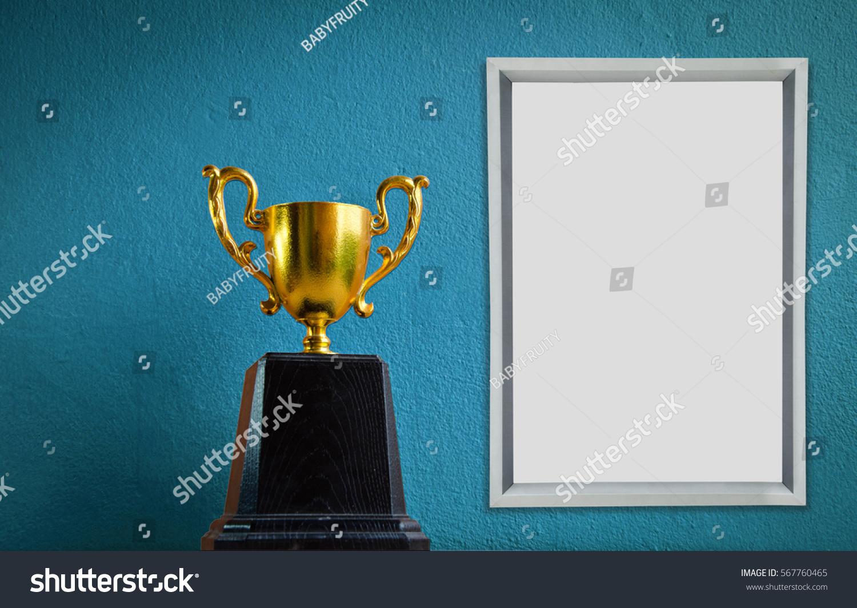 Winner Trophy Champion Frame On Blue Stock Photo (Edit Now ...