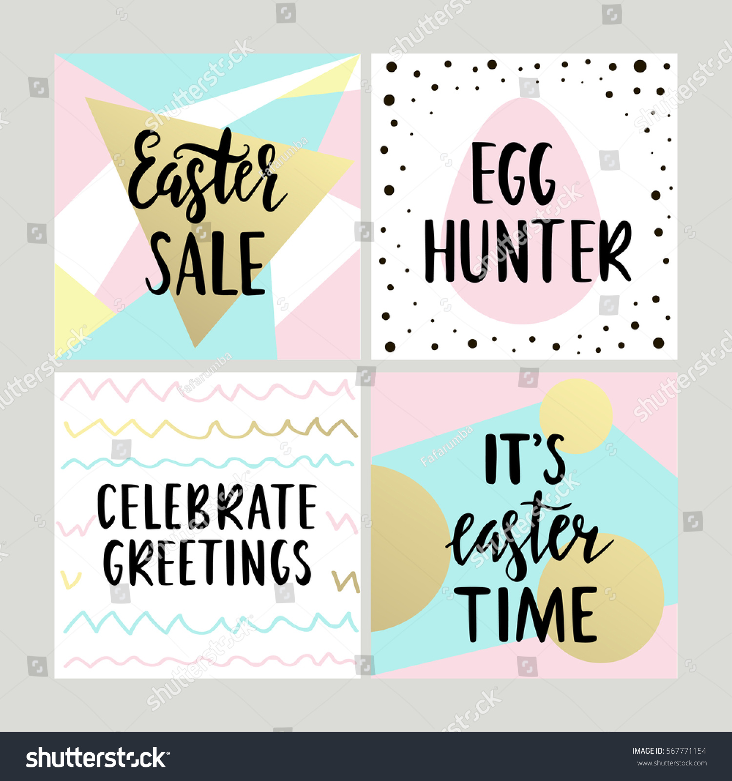 Set happy easter gift cards calligraphy stock vector 567771154 set with happy easter gift cards with calligraphy handwritten lettering hand drawn design elements negle Images