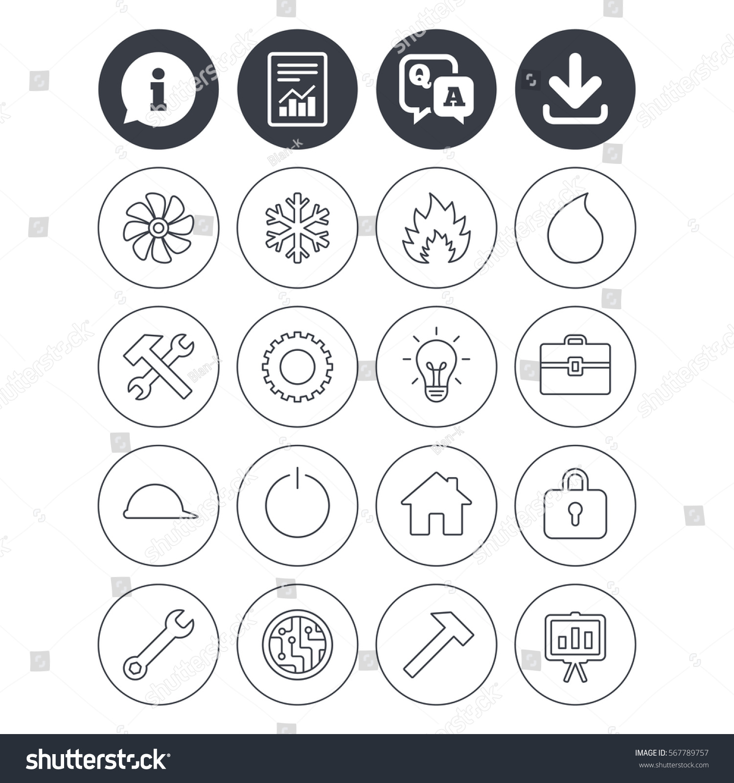 Information Download Report Signs Engineering Icons Stock Vector