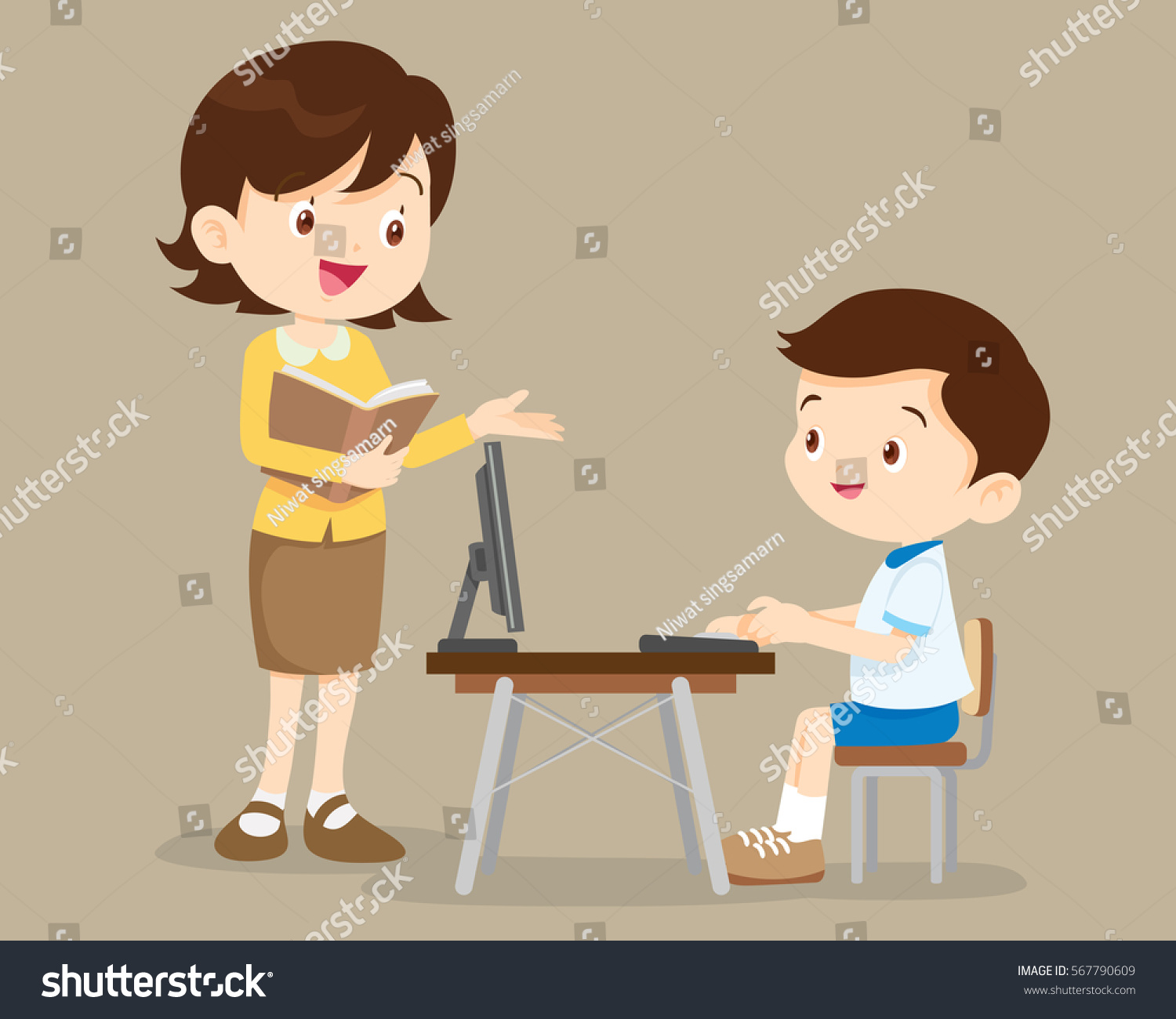 teacher student boy learning computer stock vector (royalty free