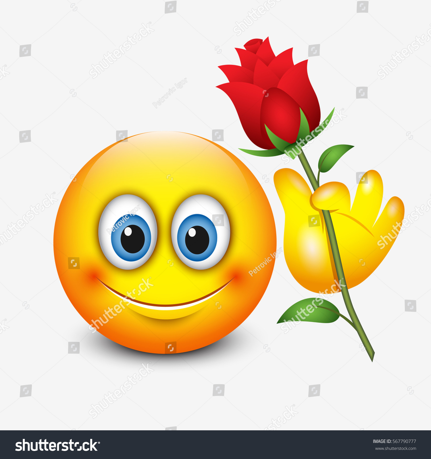 Cute Emoticon Holding Red Rose Saint Stock Vector Shutterstock