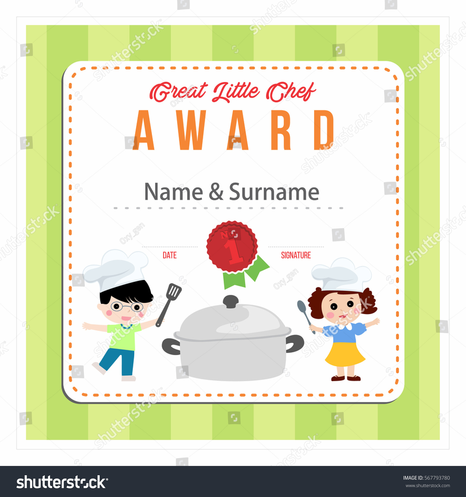 Little chef award cooking class kids stock vector 567793780 cooking class for kids green certificate design template vector illustration alramifo Image collections