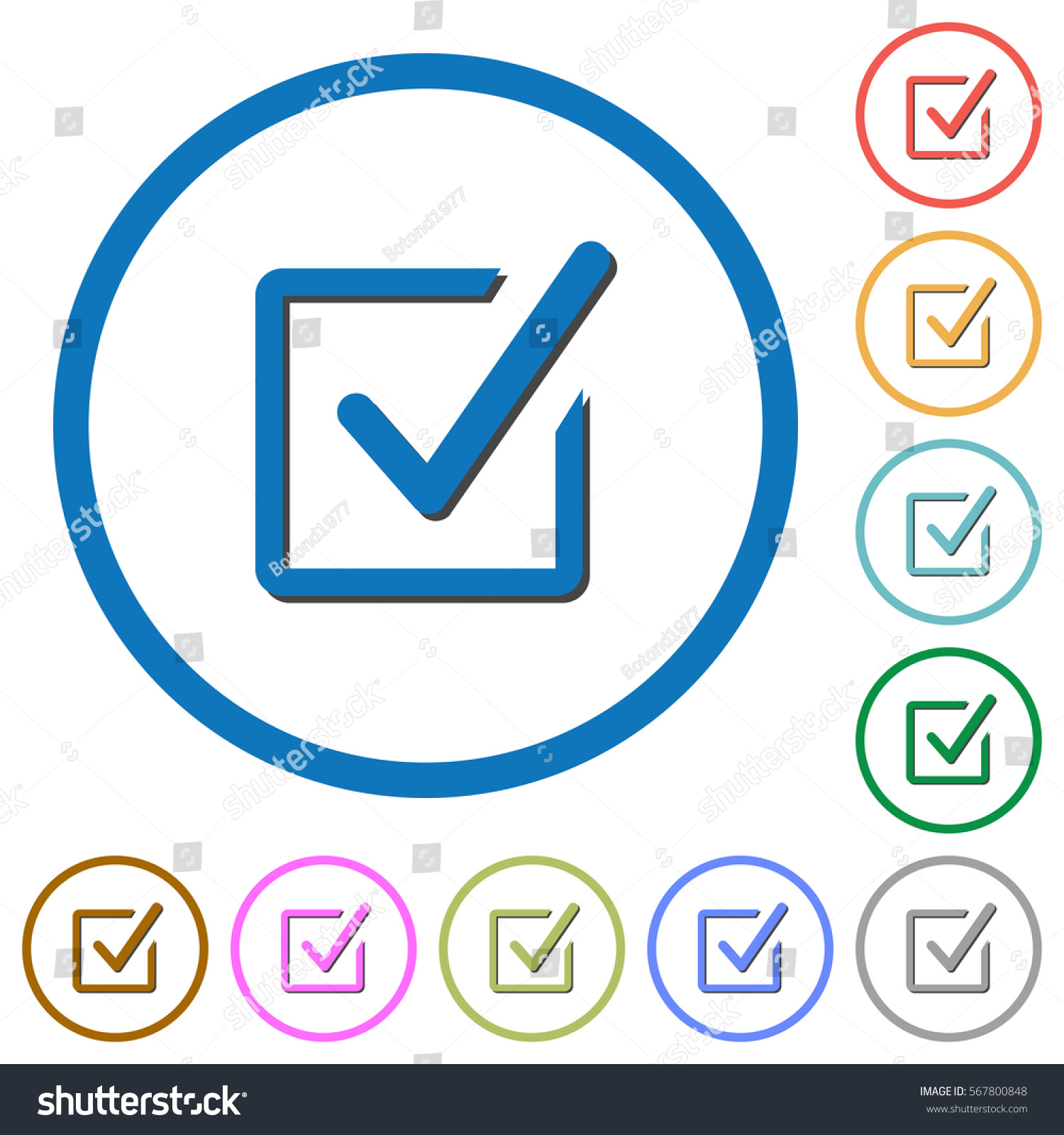Checked box flat color vector icons stock vector 567800848 checked box flat color vector icons with shadows in round outlines on white background biocorpaavc Gallery
