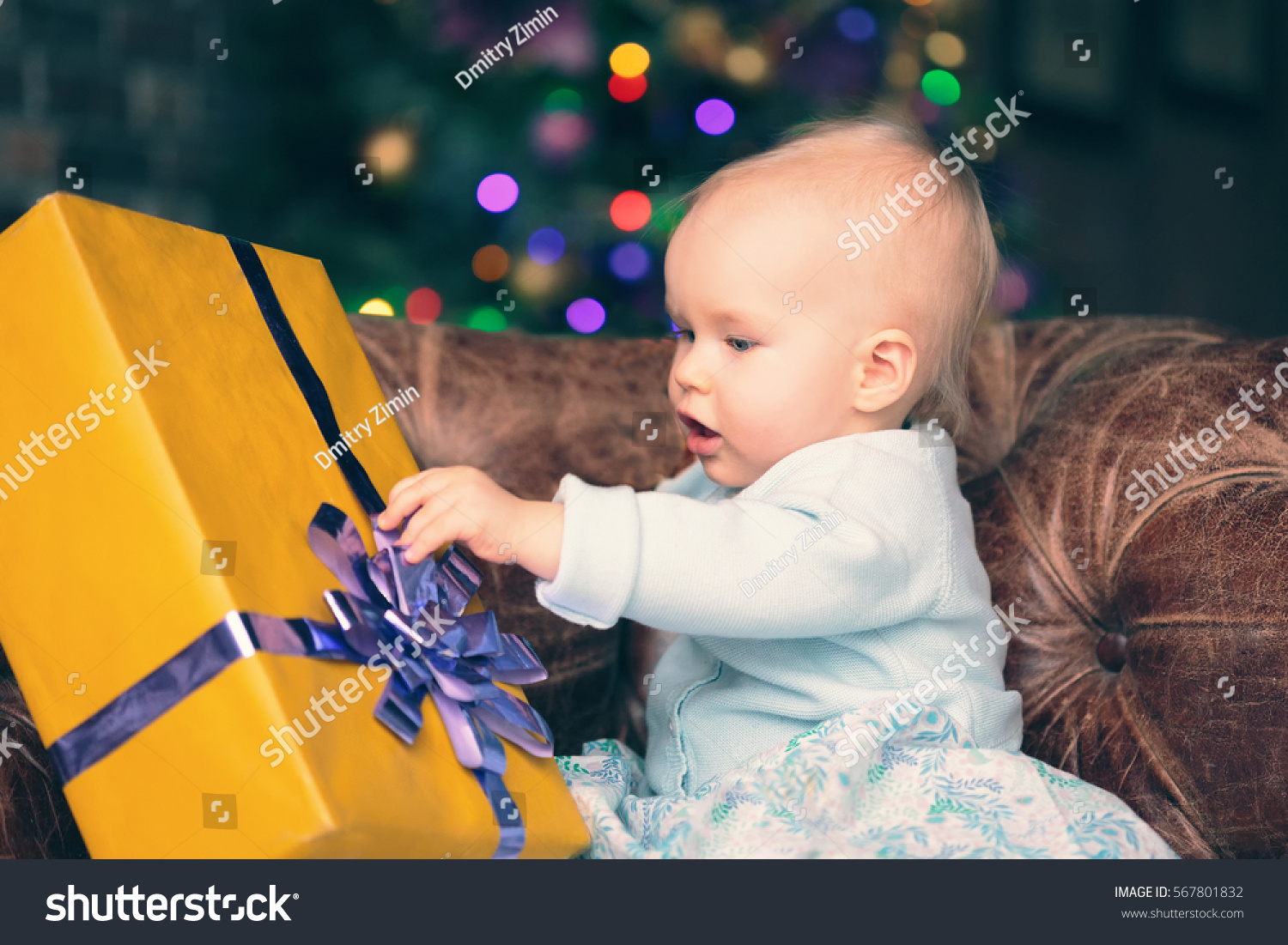 Gift For 1 Year Girl Baby: One Year Baby Girl Opening Present Stock Photo 567801832