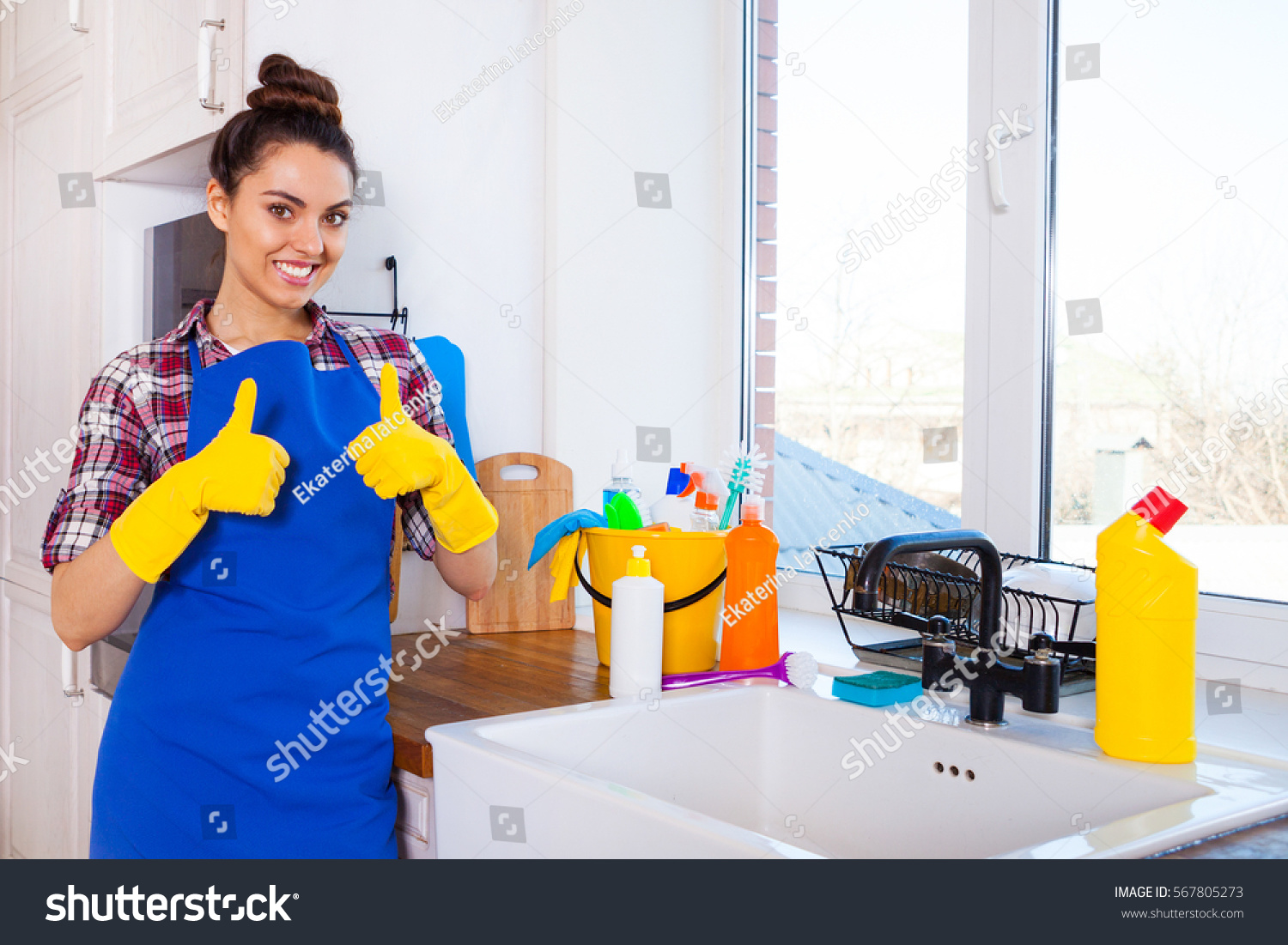 Young girl cleaning house opinion