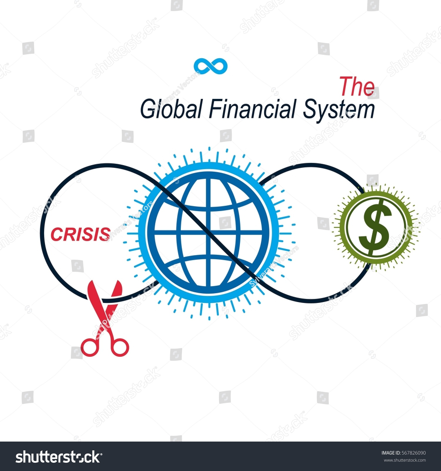 Crisis global financial system conceptual logo stock vector the crisis in global financial system conceptual logo unique vector symbol banking system biocorpaavc Gallery