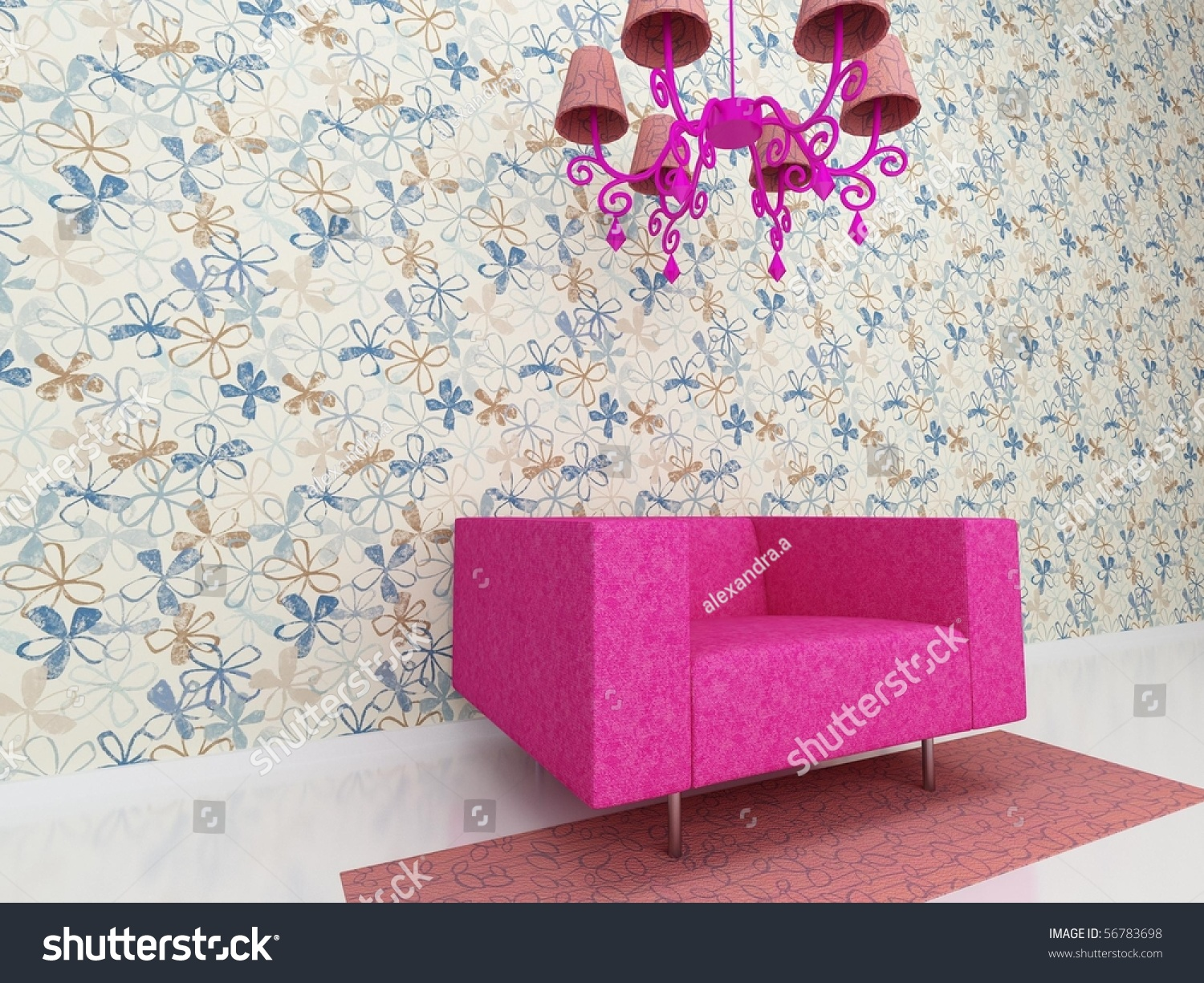 pink chair stand against the wall stock photo 56783698 shutterstock. Black Bedroom Furniture Sets. Home Design Ideas