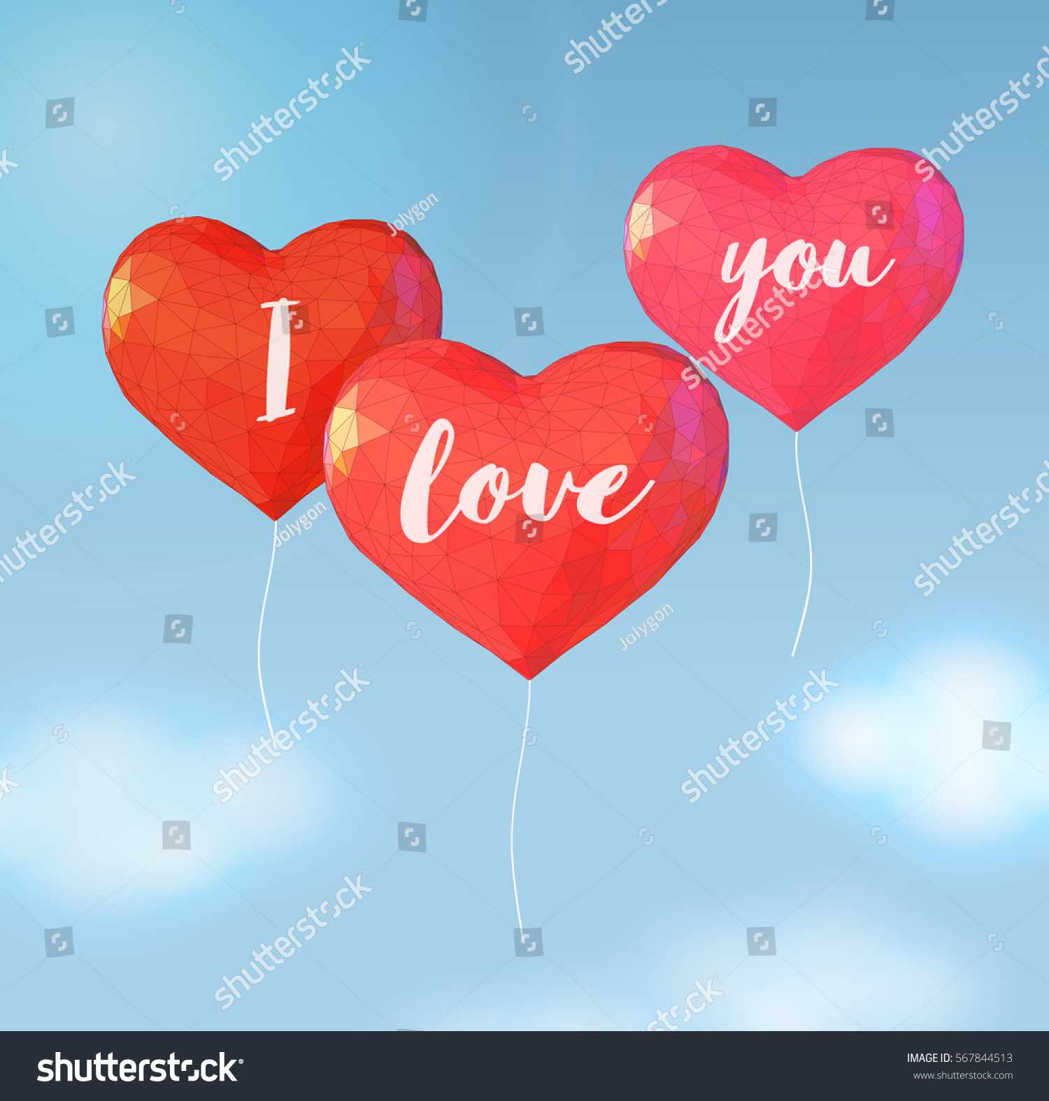 Red Polygonal Balloon Heart Symbol Shape Stock Vector Royalty Free