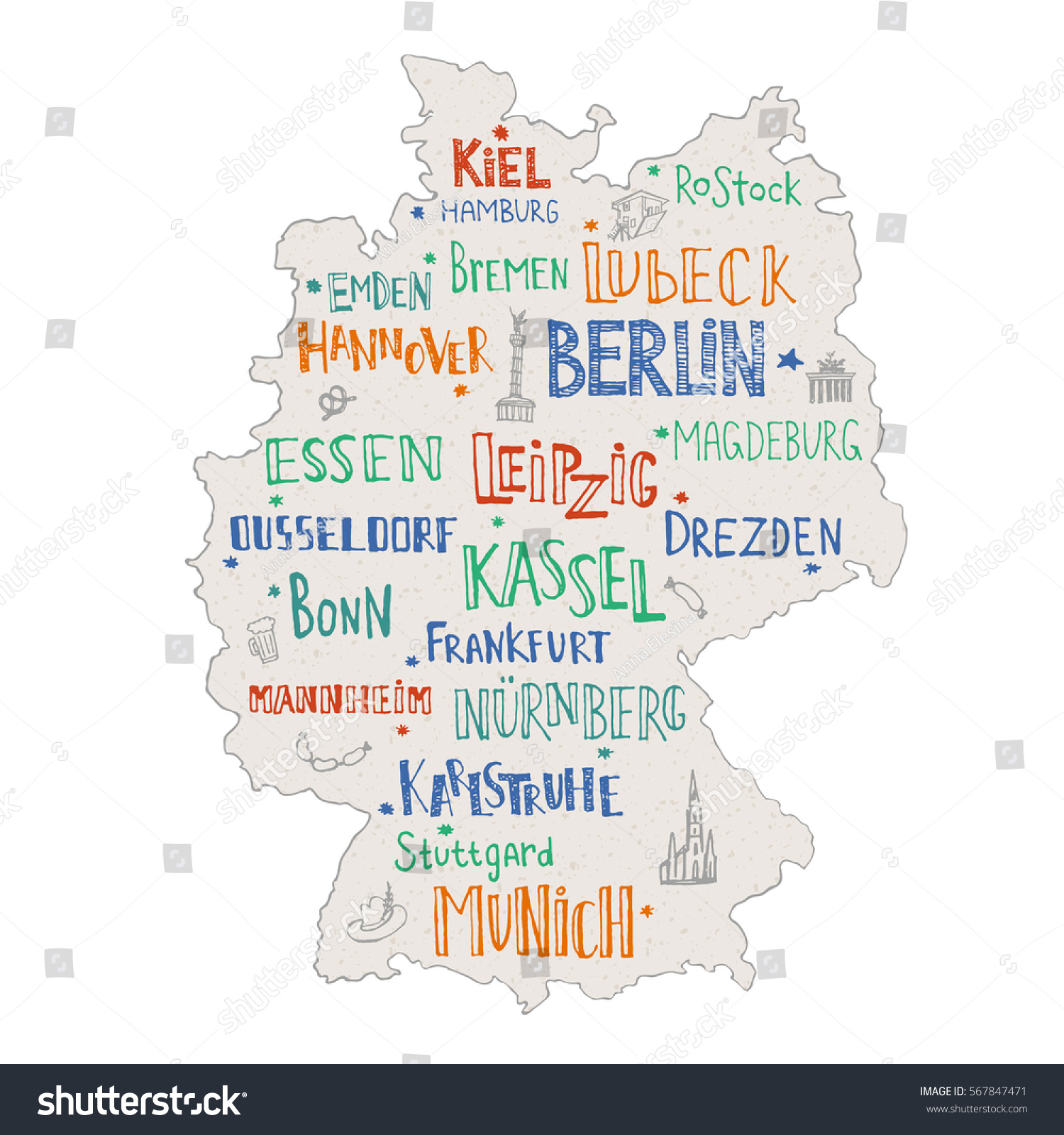 Hand Drawn Map Germany Lettering Main Stock Vector - Map of main