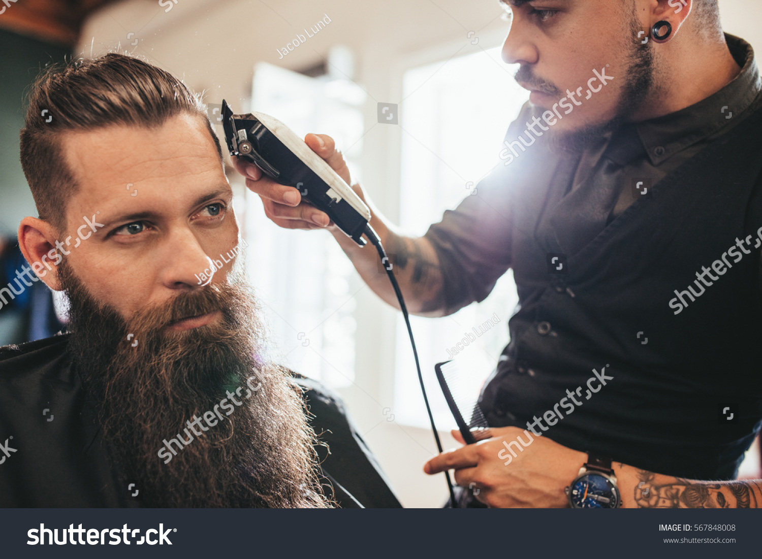 Young Man Getting Haircut Barber Shop Stock Photo Edit Now