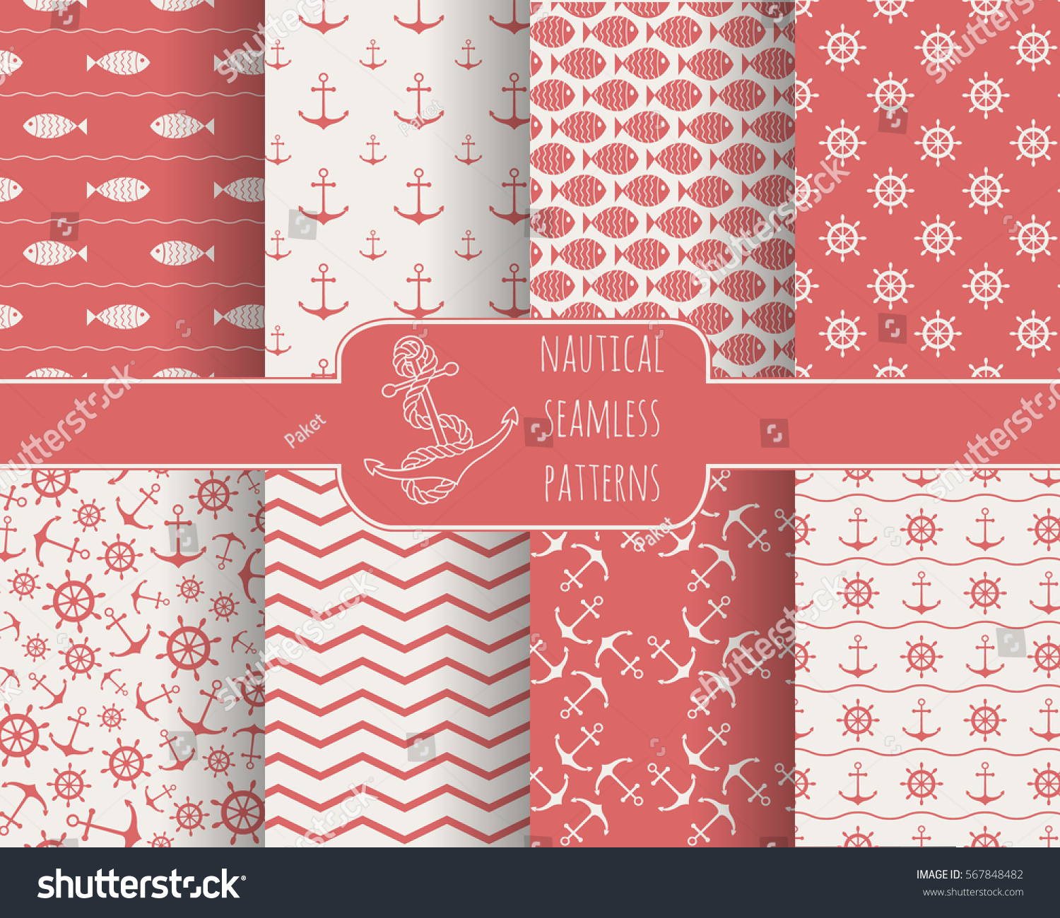 Seamless Nautical Themed Patterns Set Anchors Stock Vector 2018