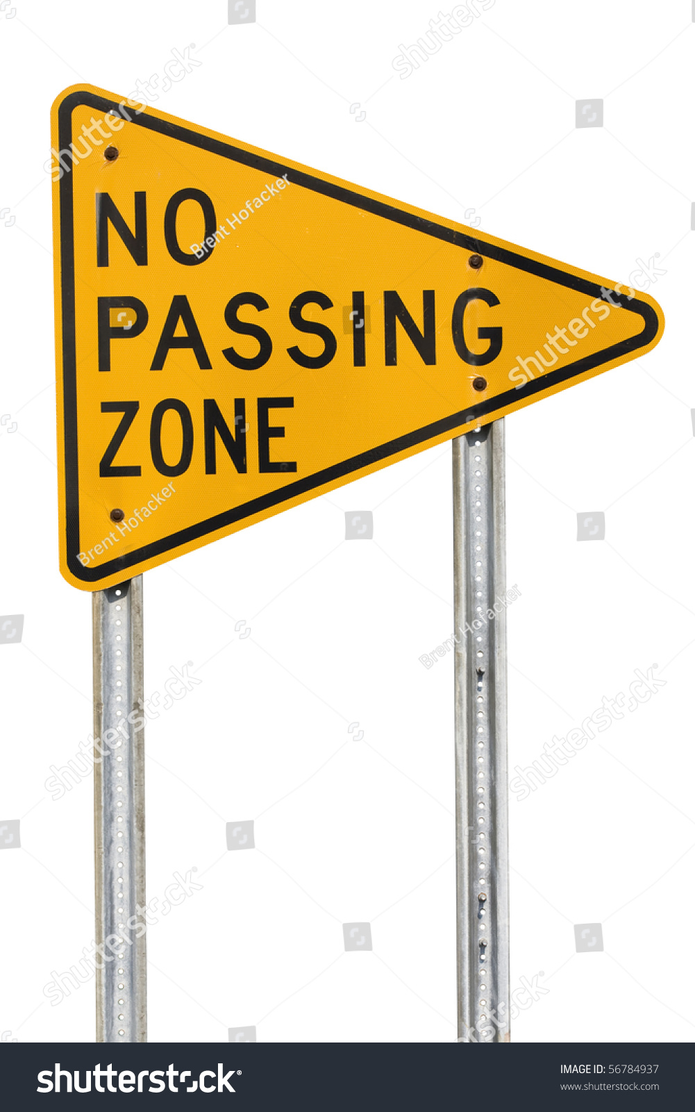 A Yellow No Passing Zone Sign Cutout Stock Photo 56784937 ...
